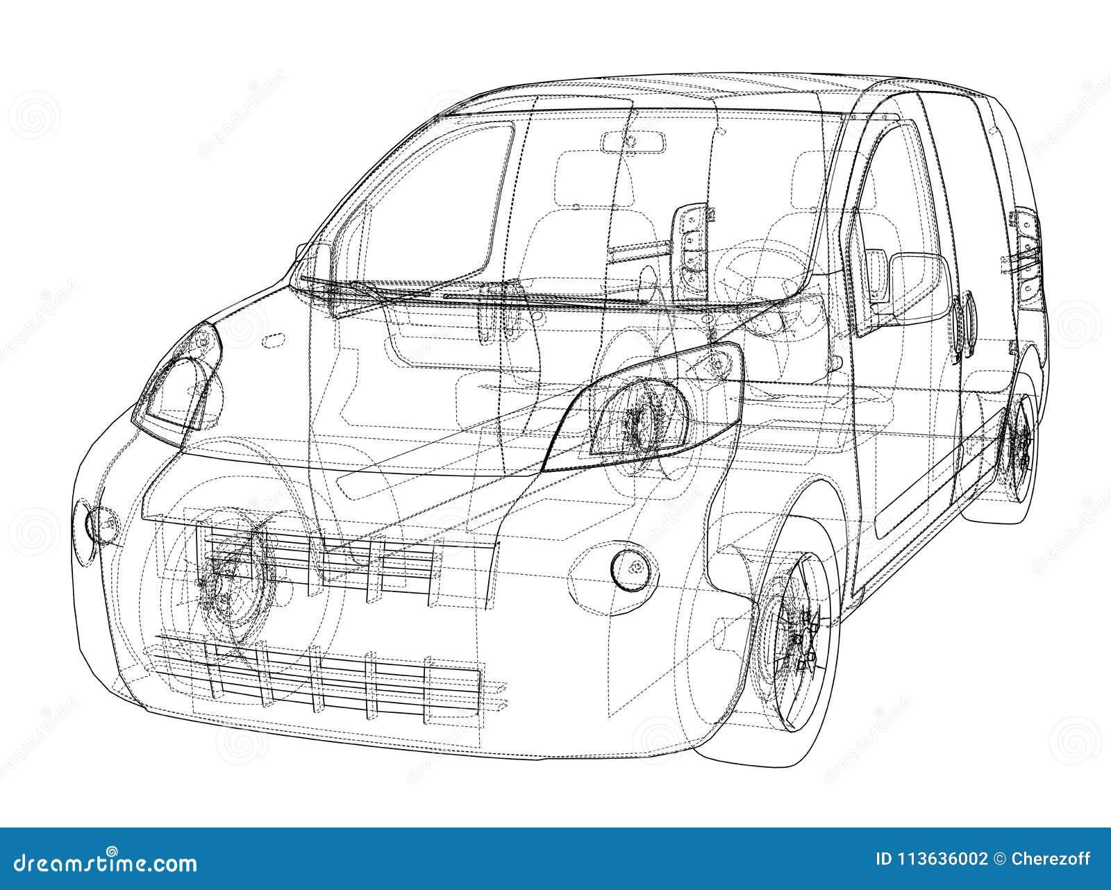 Concept car blueprint stock illustration  Illustration of