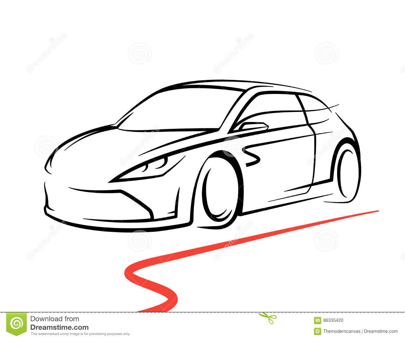 Concept Car Drawing Supercar Sports Vehicle Line Style Silhouette on sports car illustration