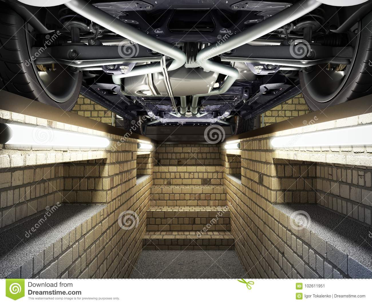 concept of car service car view from below from the pit of the g stock illustration image. Black Bedroom Furniture Sets. Home Design Ideas