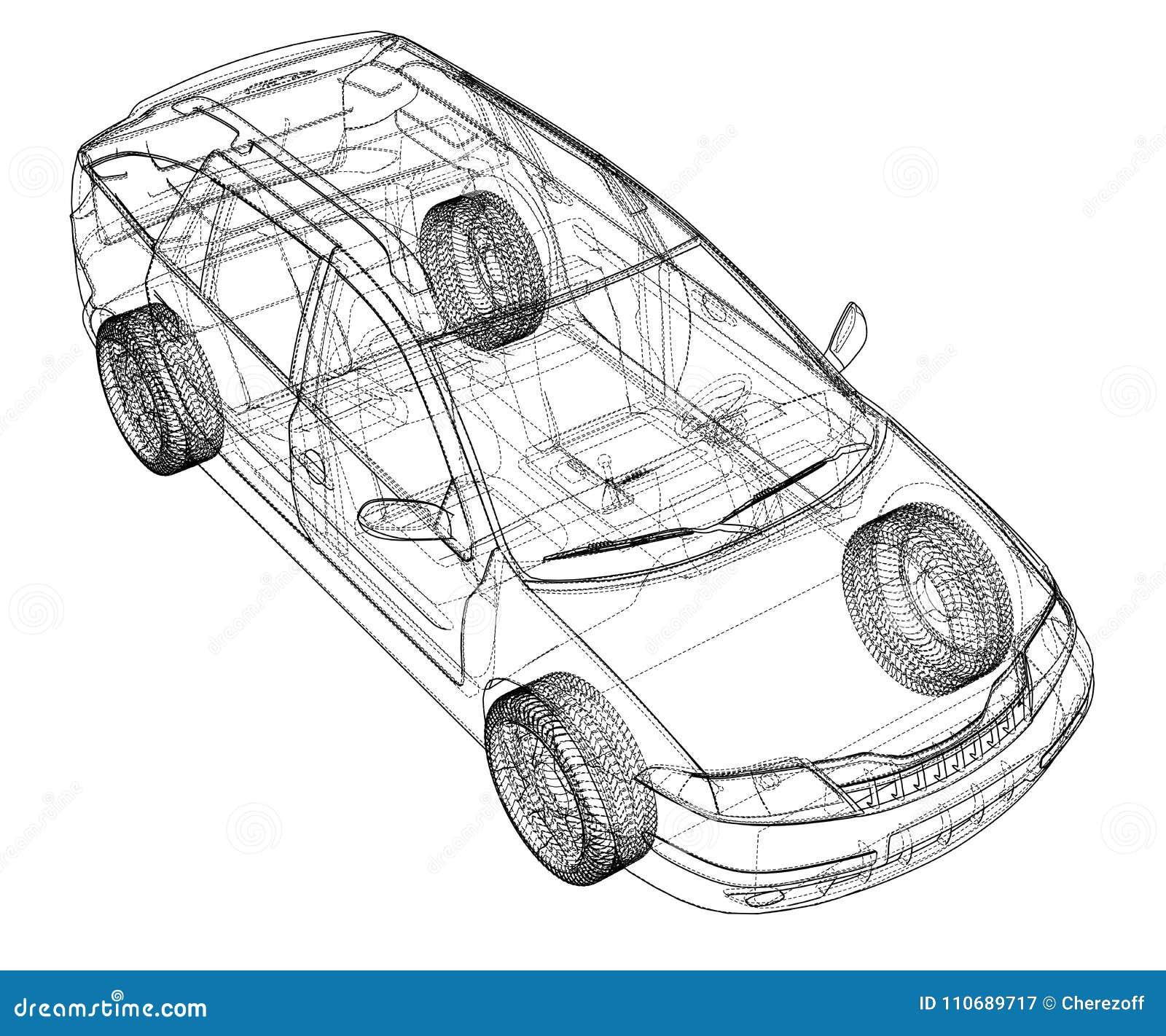 concept car  vector rendering of 3d stock vector