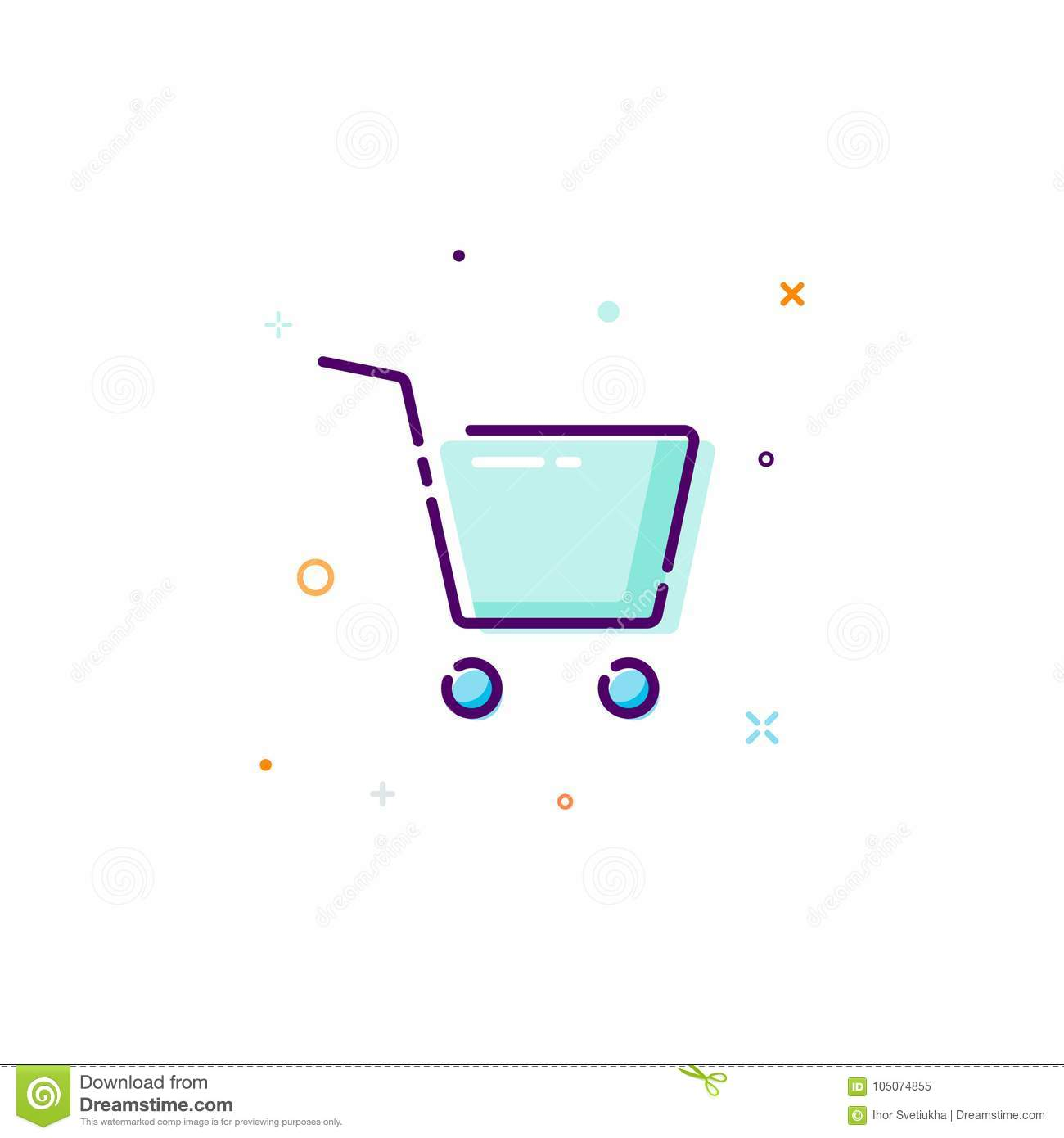 Concept cart icon. Thin line flat design element. buy online concept. Vector illustration isolated on white background