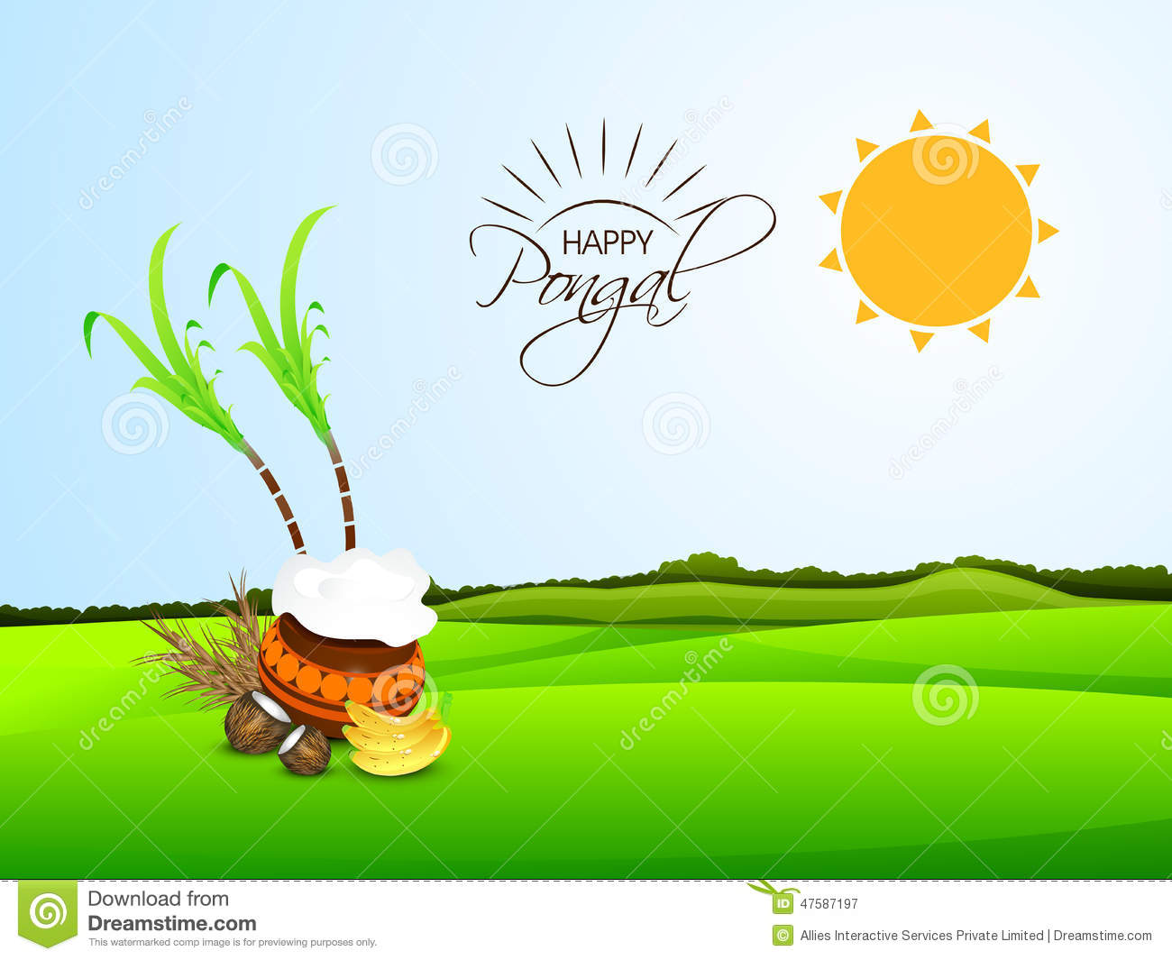 Poster For Celebrating Happy Pongal Festival Royalty Free