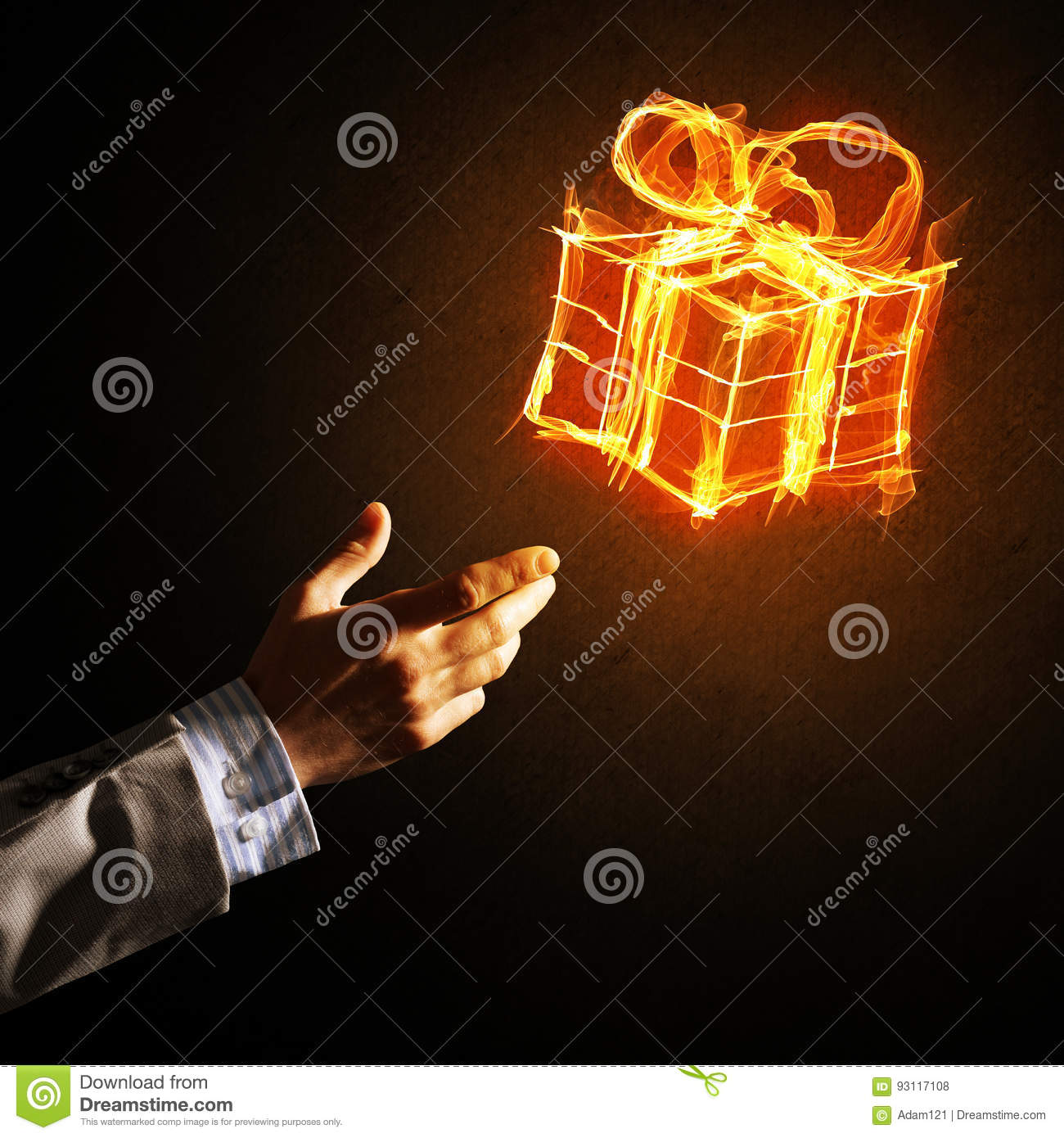 Concept Of Celebration With Fire Burning Gift Symbol And Businessman