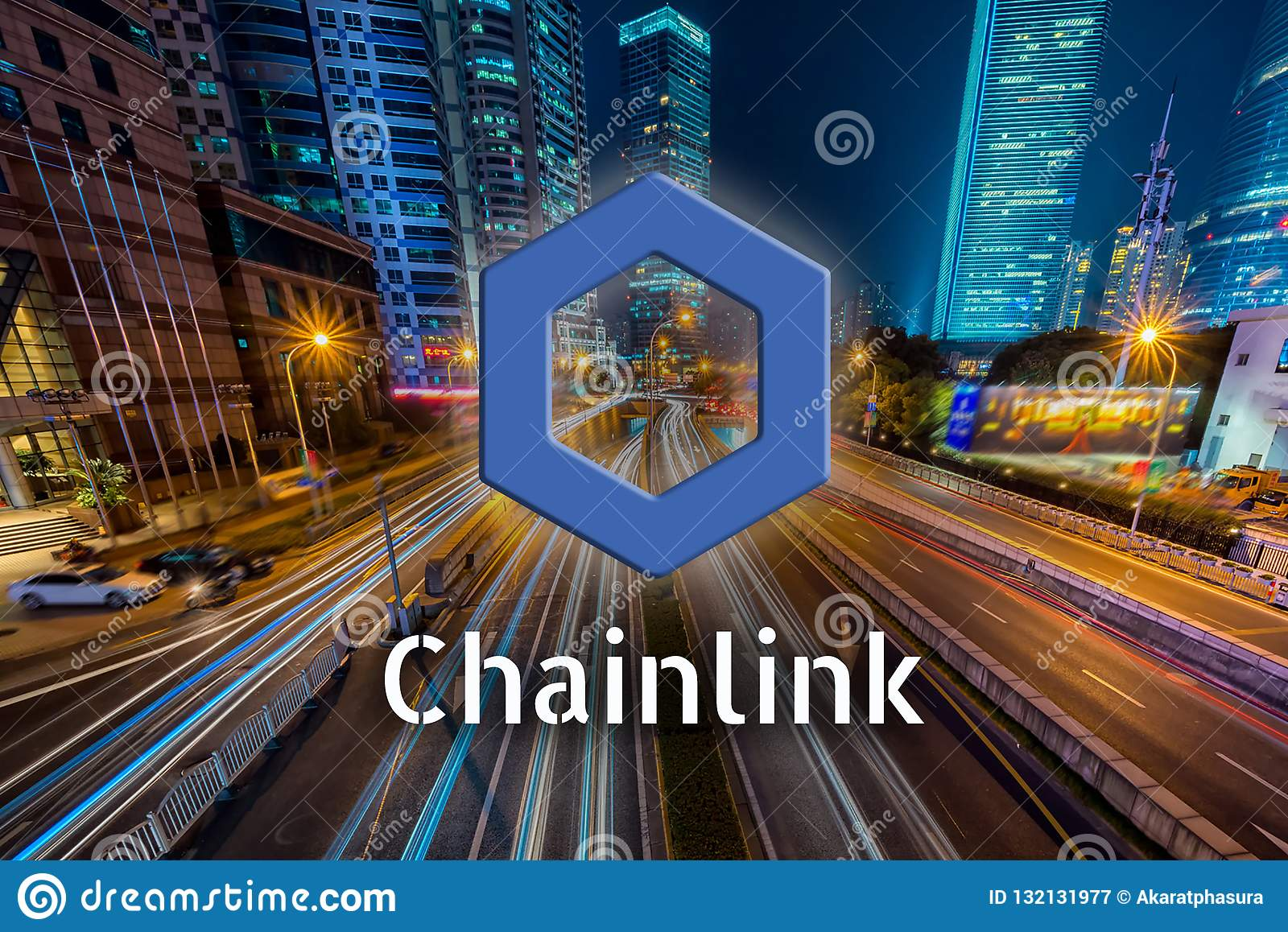 Concept Of Chainlink Coin Moving Fast On The Road, A Cryptocurrency