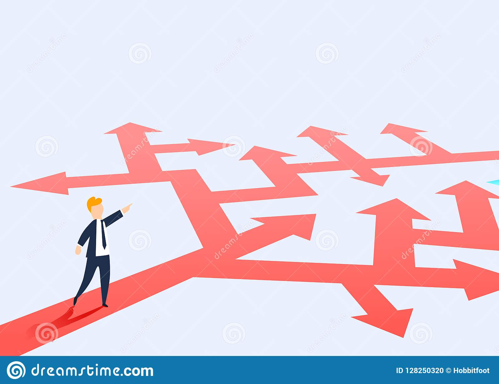 The concept of choosing the way of business and a businessman showing the direction. Problem solving, way to success.
