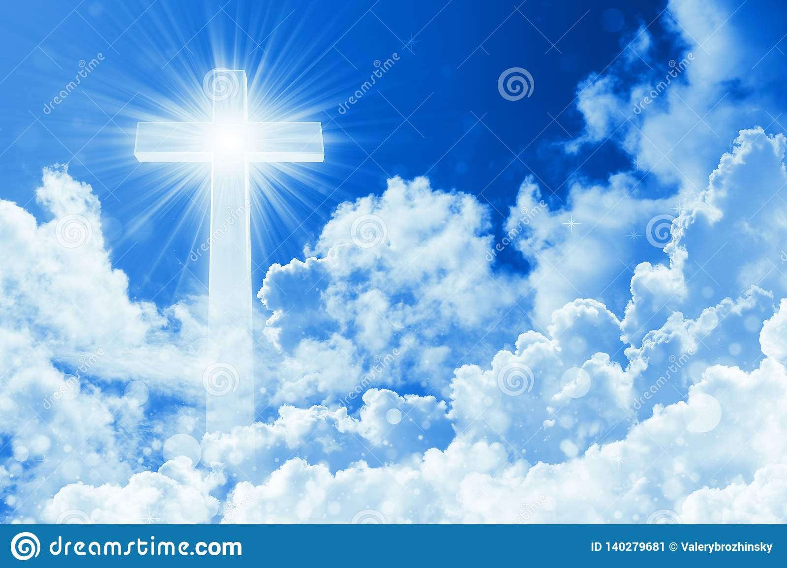 Concept of christian religion shining cross on the background of cloudy sky. Sky with cross and beautiful cloud. Divine shining