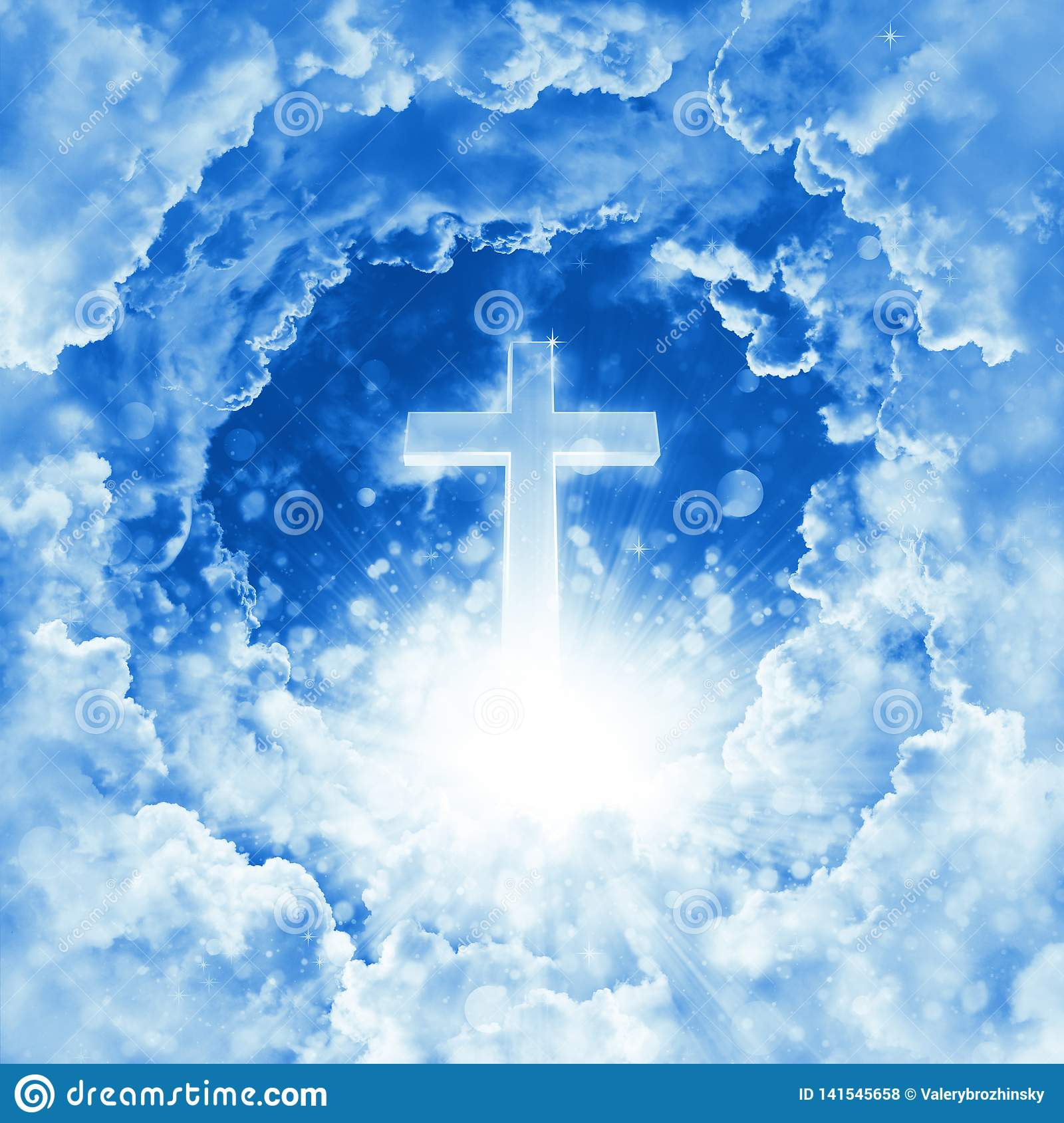 Concept of christian religion shining cross on the background of dramatic cloudy sky. Divine shining heaven, light. Sky with cross