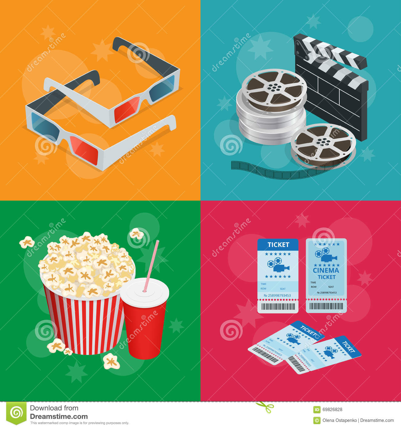 Concept Cinema Banners Realistic With Movie Theatre Elements Poster Template