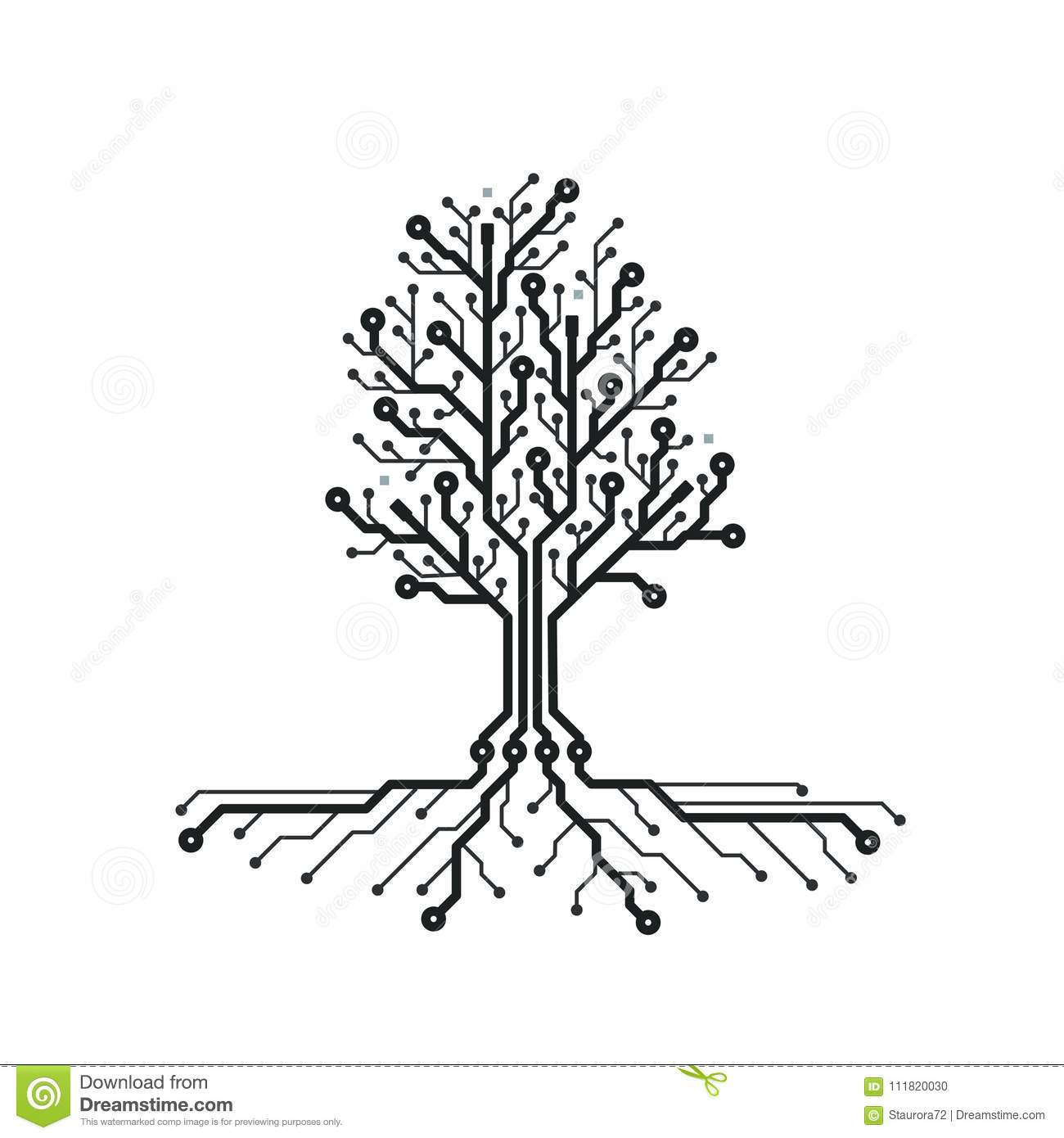 Concept Circuit Board Tree Futuristic Background With Tech Design Black And White Images Pcb