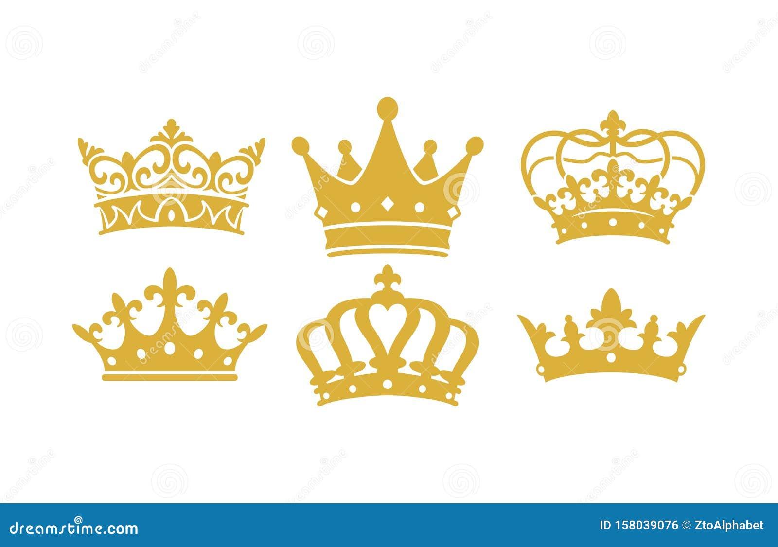 King Queen Crown Vectors Stock Vector Illustration Of Style 158039076