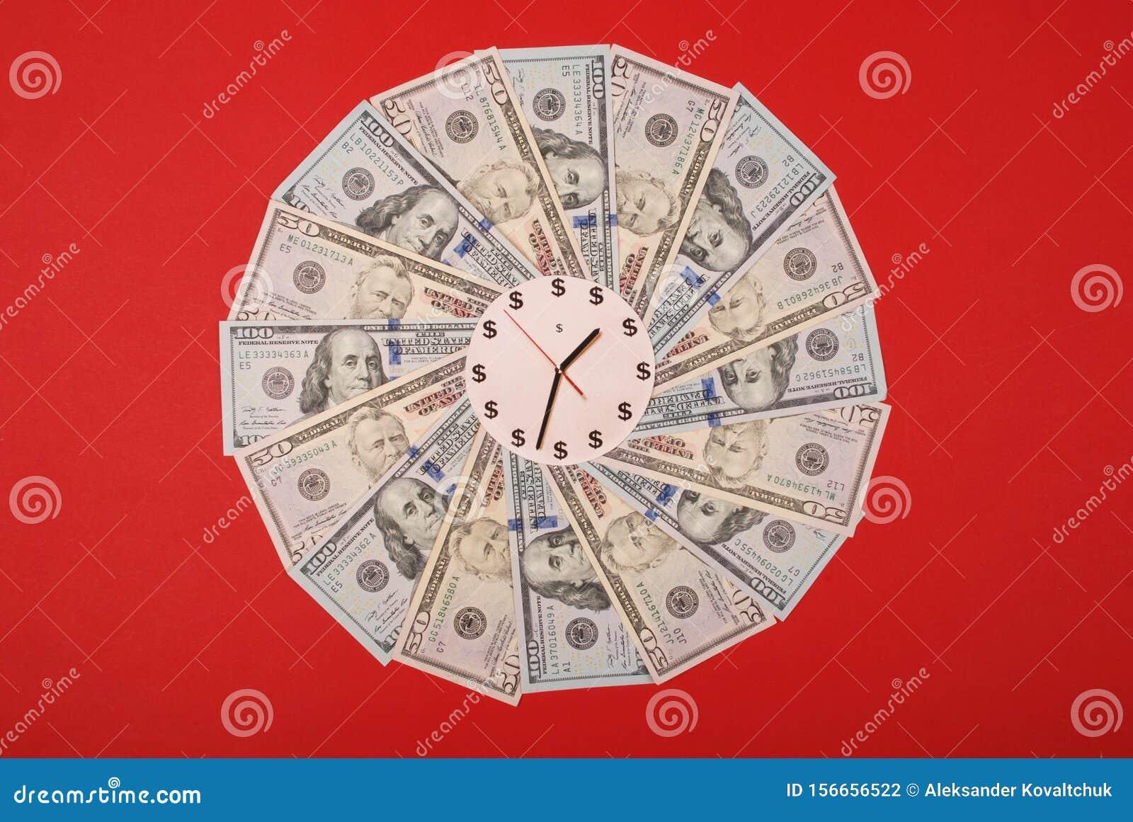 Concept of clock and dollar. Clock on mandala kaleidoscope from money. Abstract money background raster pattern repeat mandala