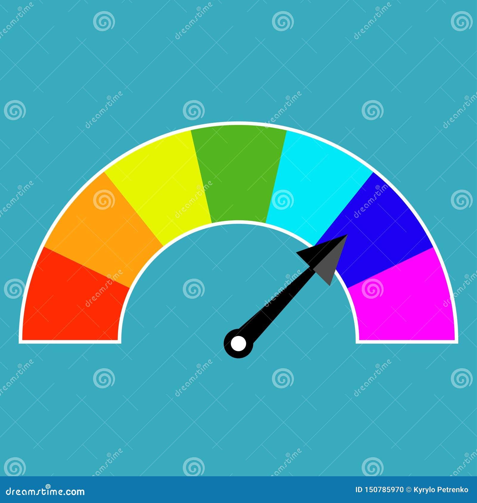 Concept coloré d instrument d affichage avec une flèche