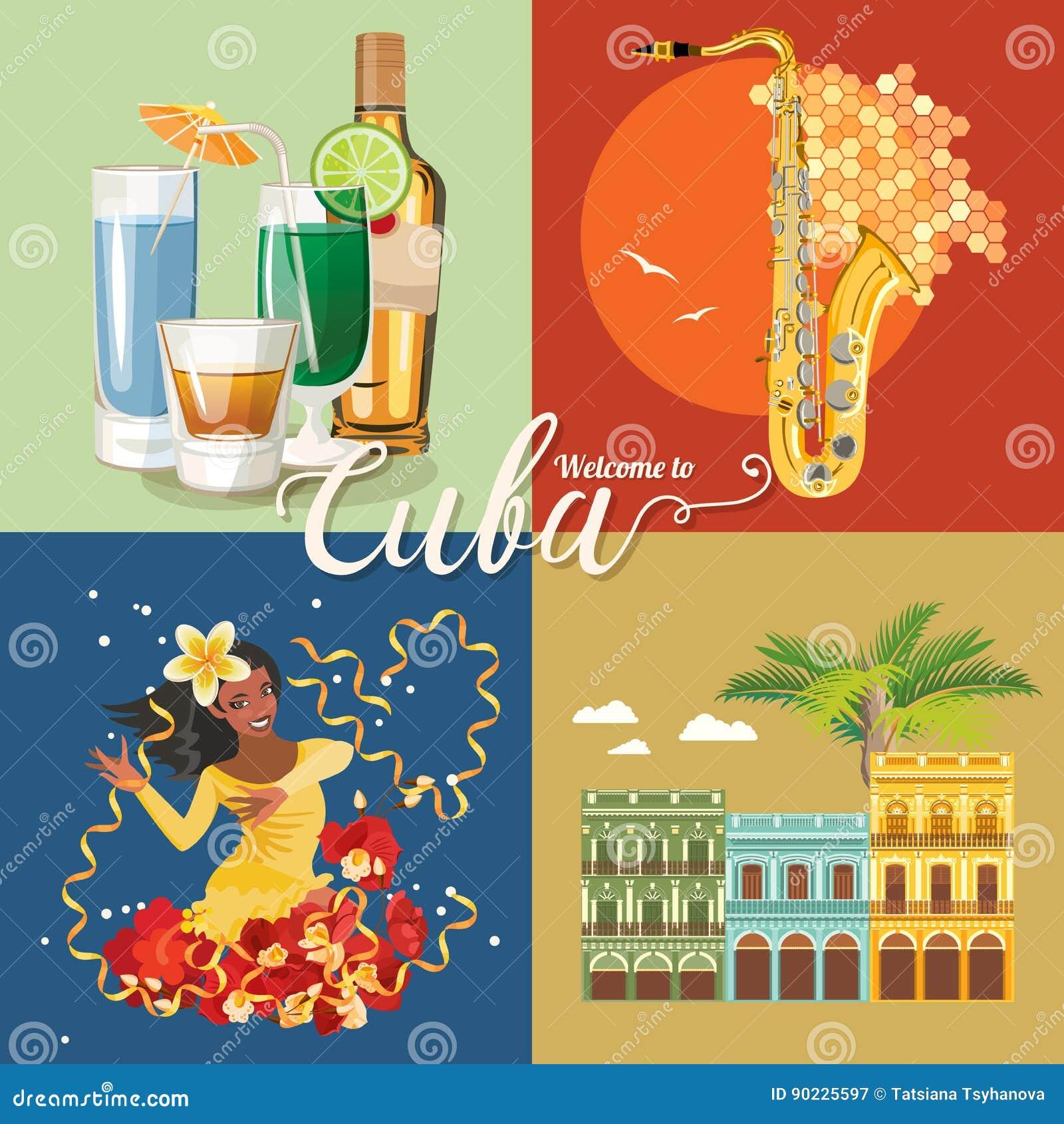 Concept coloré de carte de voyage du Cuba Affiche de voyage avec la ROM, le danseur de La Havane et de Salsa Illustration de vect