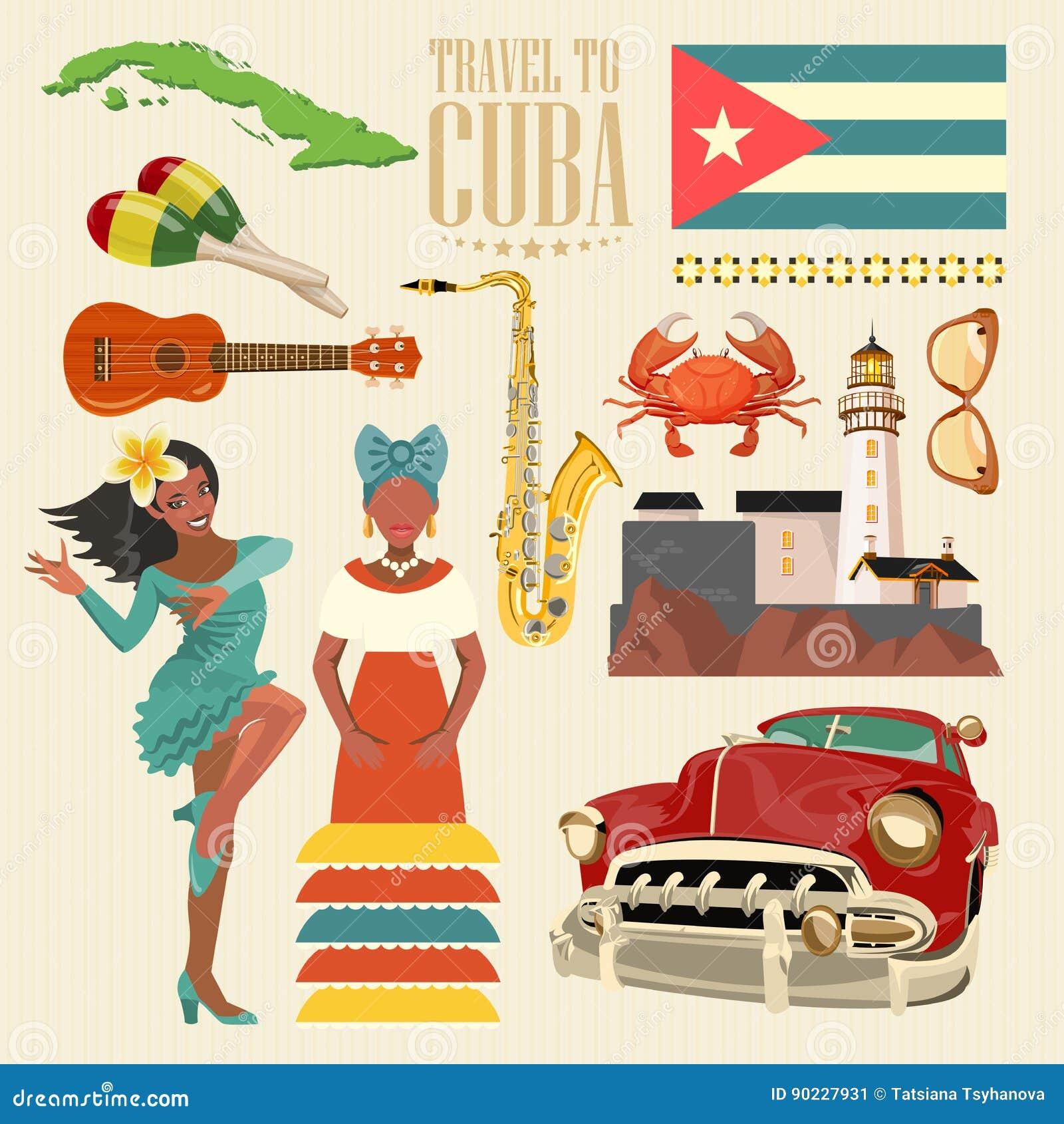 Concept coloré de carte de voyage du Cuba Affiche de voyage avec le danseur de Salsa Illustration de vecteur avec la culture cuba