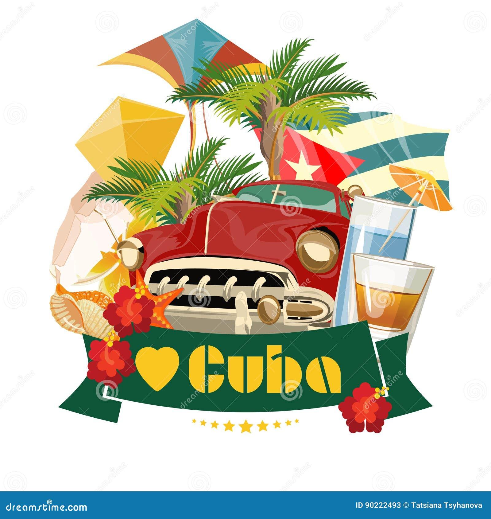 Concept coloré de carte de voyage du Cuba J aime le Cuba Type de cru Illustration de vecteur avec la culture cubaine