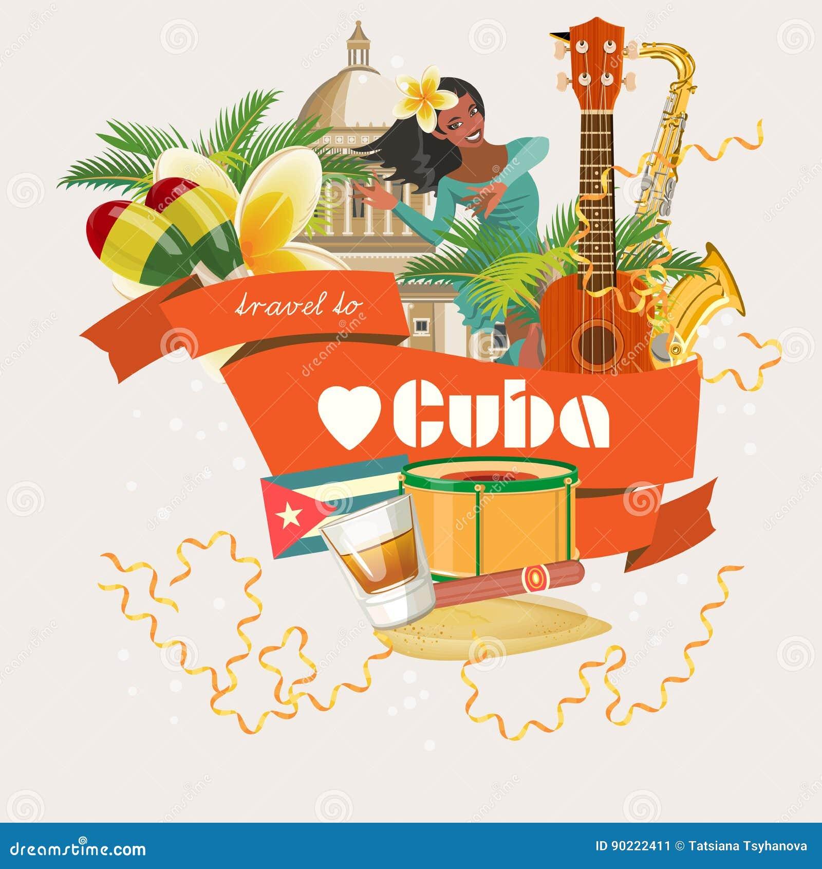 Concept coloré de carte de voyage du Cuba Voyage vers le Cuba Type de cru Illustration de vecteur avec la culture cubaine