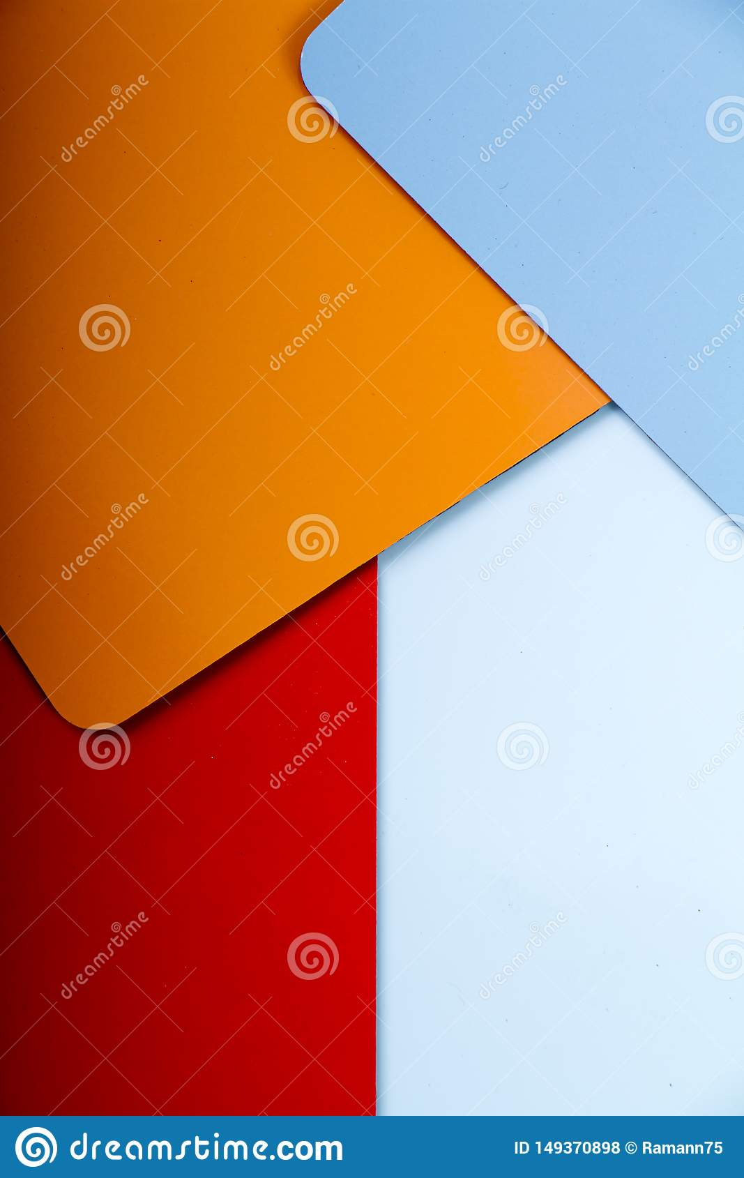 Concept of color cards on white background three colors red, orange, blue isolate on white background