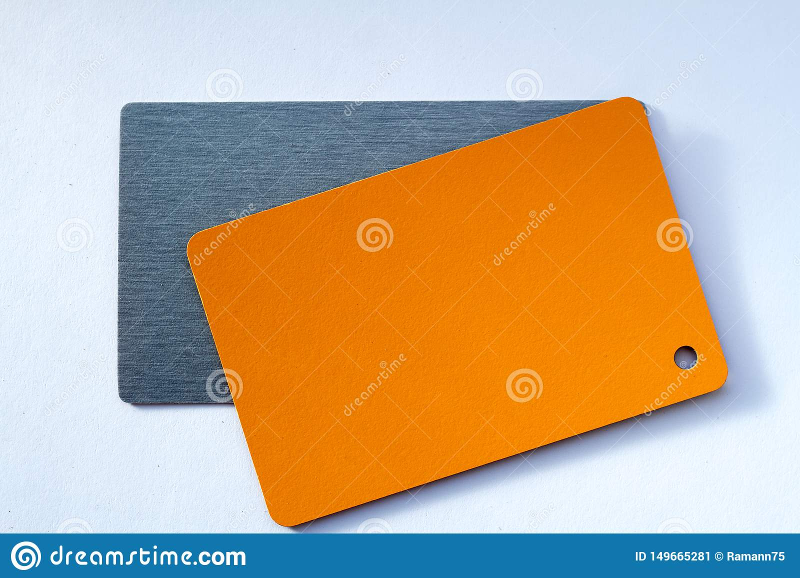 Concept of color cards on white background two colors gray and orange isolate on white background