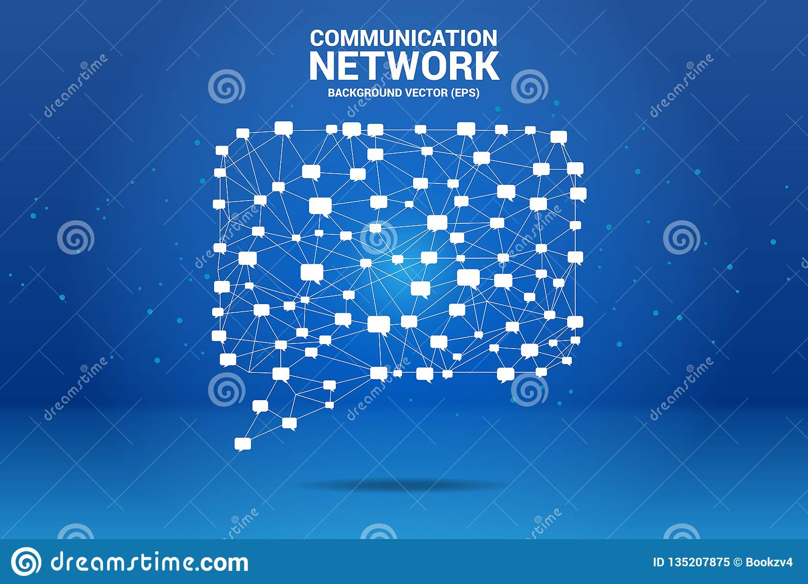 Talk Bubble Icon With Dot And Line Connections Stock Vector