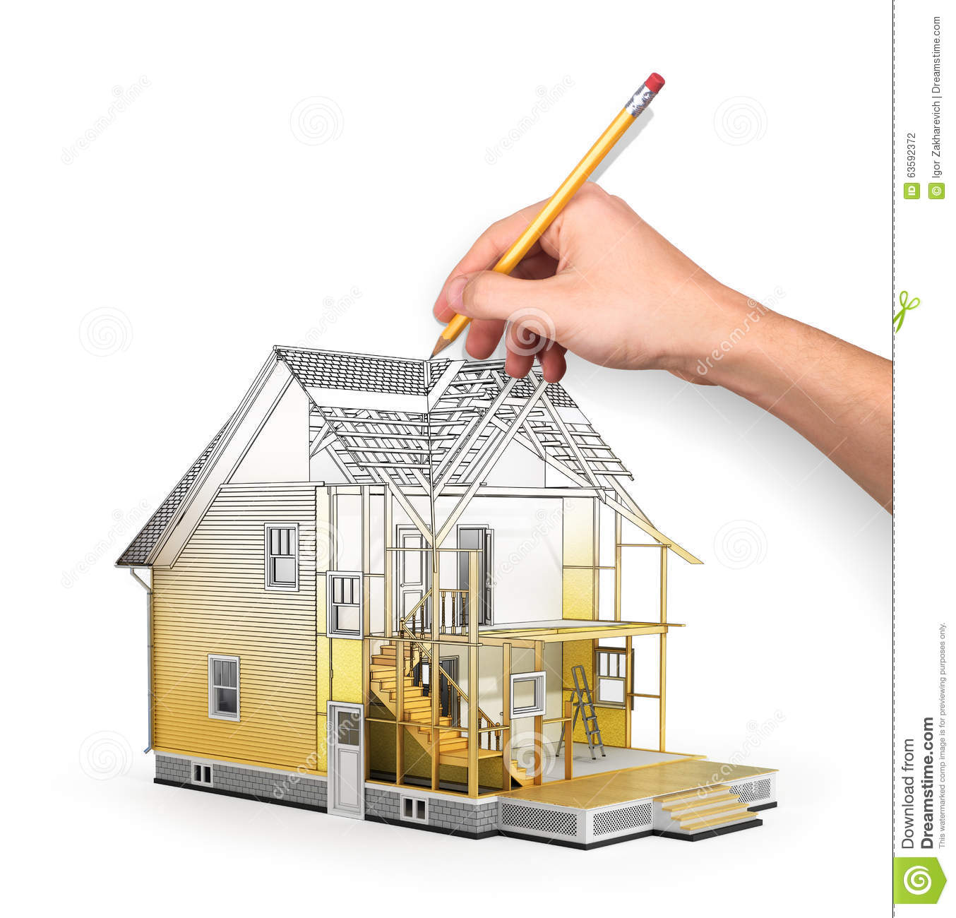 Concept of construction and architect design stock photo Home building process