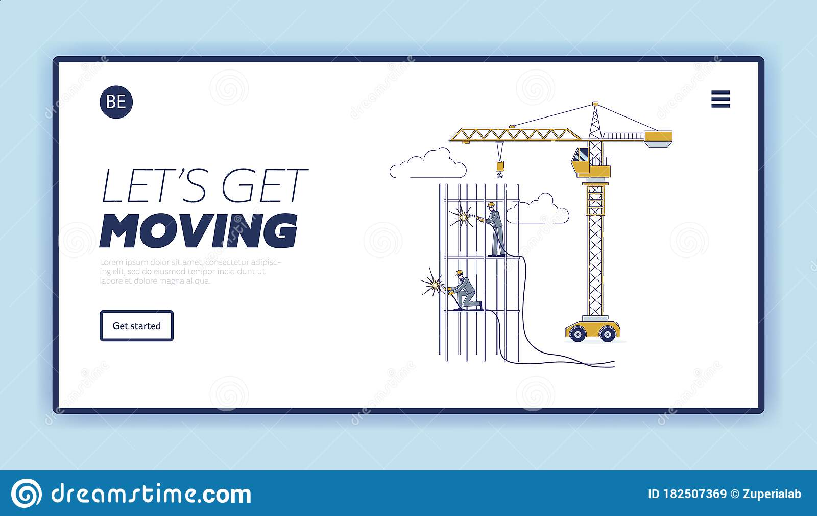 Concept Of Construction. Website Landing Page. Characters ...
