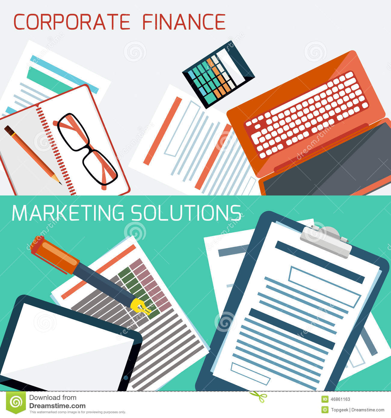 Finance: Concept For Corporate Finance, Marketing Solution Stock