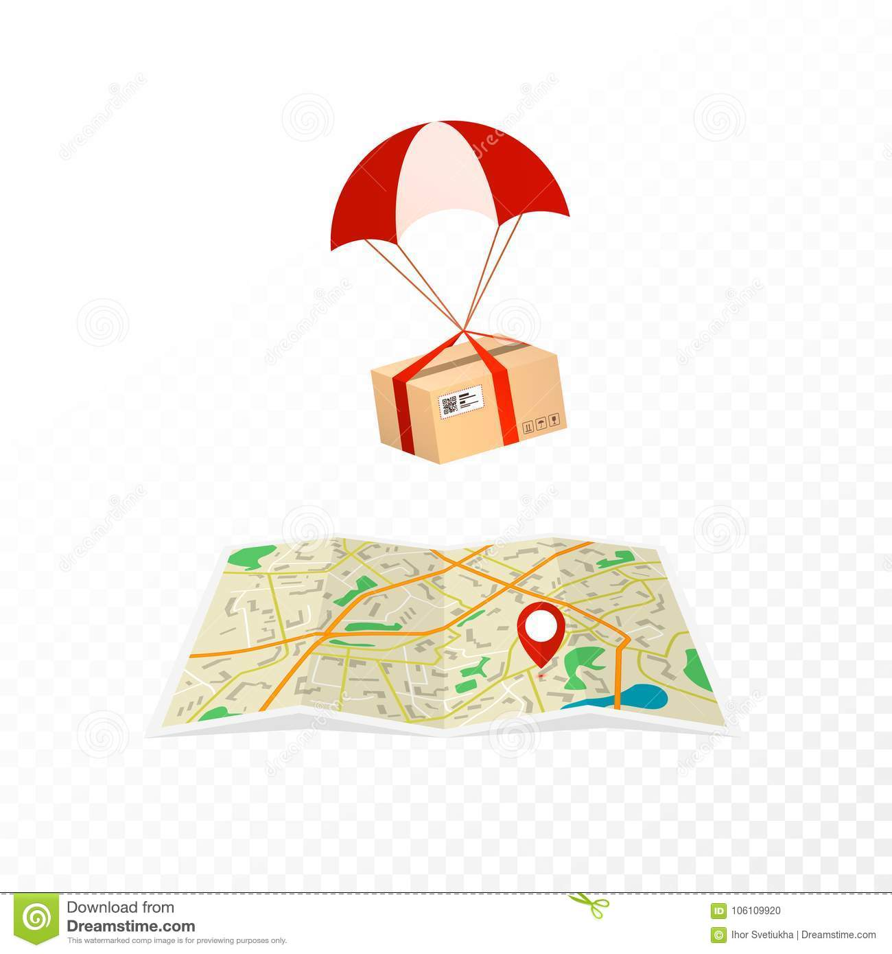 Concept courier service. Logistic and delivery packages. Package flies to the destination on the map. Flat vector illustration iso