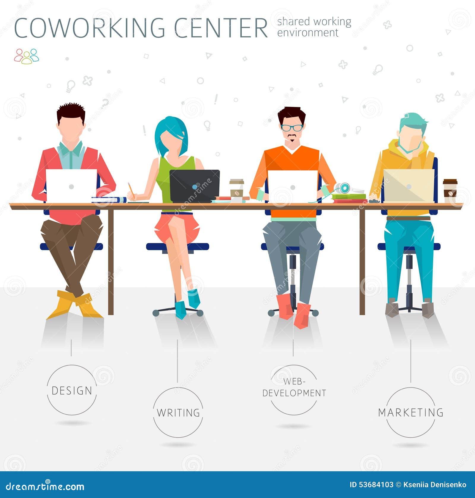 30 Creative Open Concept: Concept Of The Coworking Center Stock Vector