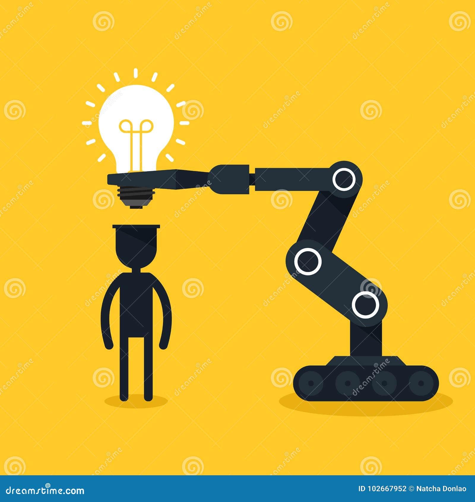 Concept créateur d idée Le robot a mis l ampoule dans l esprit humain