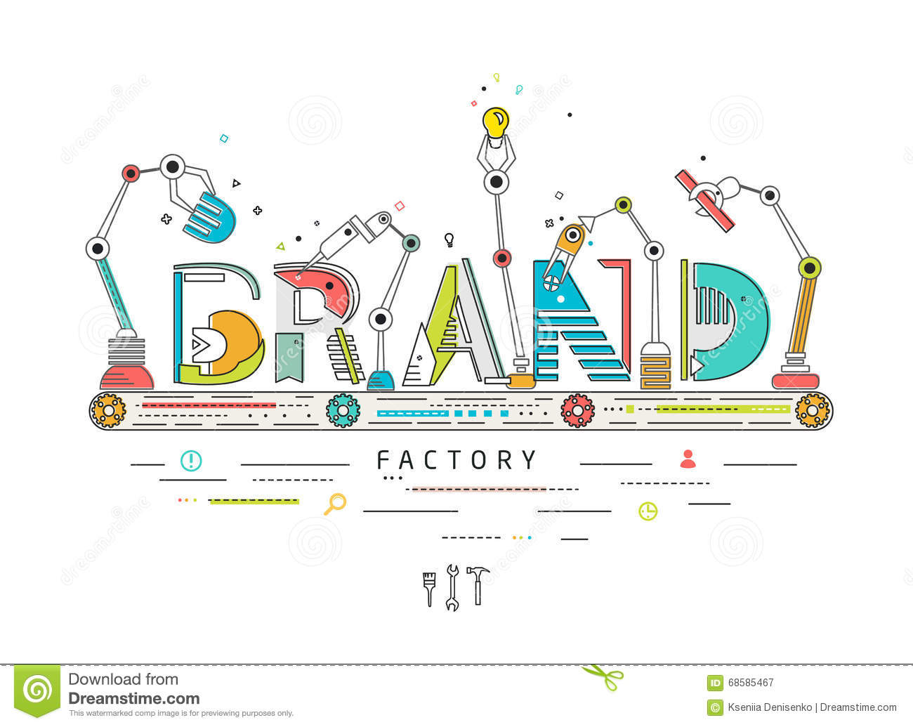 Concept of creating and building brand stock vector for Production builder