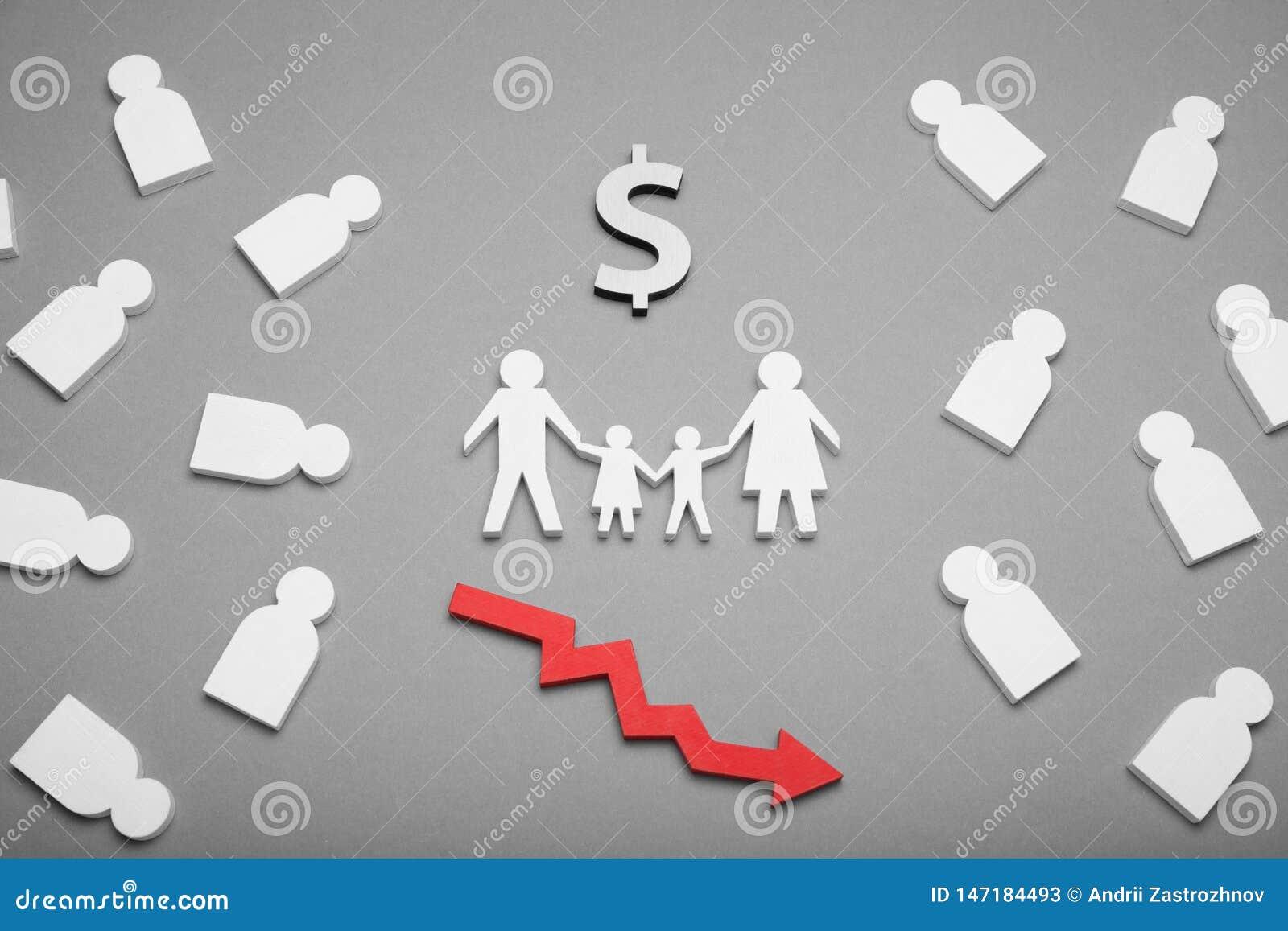 Concept, crise et aide de pauvreté de famille Planification de budget, parents tristes américains