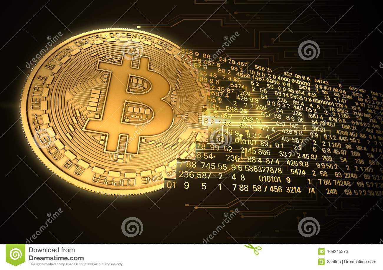 f5b3155a645 Concept cryptocurrency in financial world. Gold Coins Bitcoin on black  background.