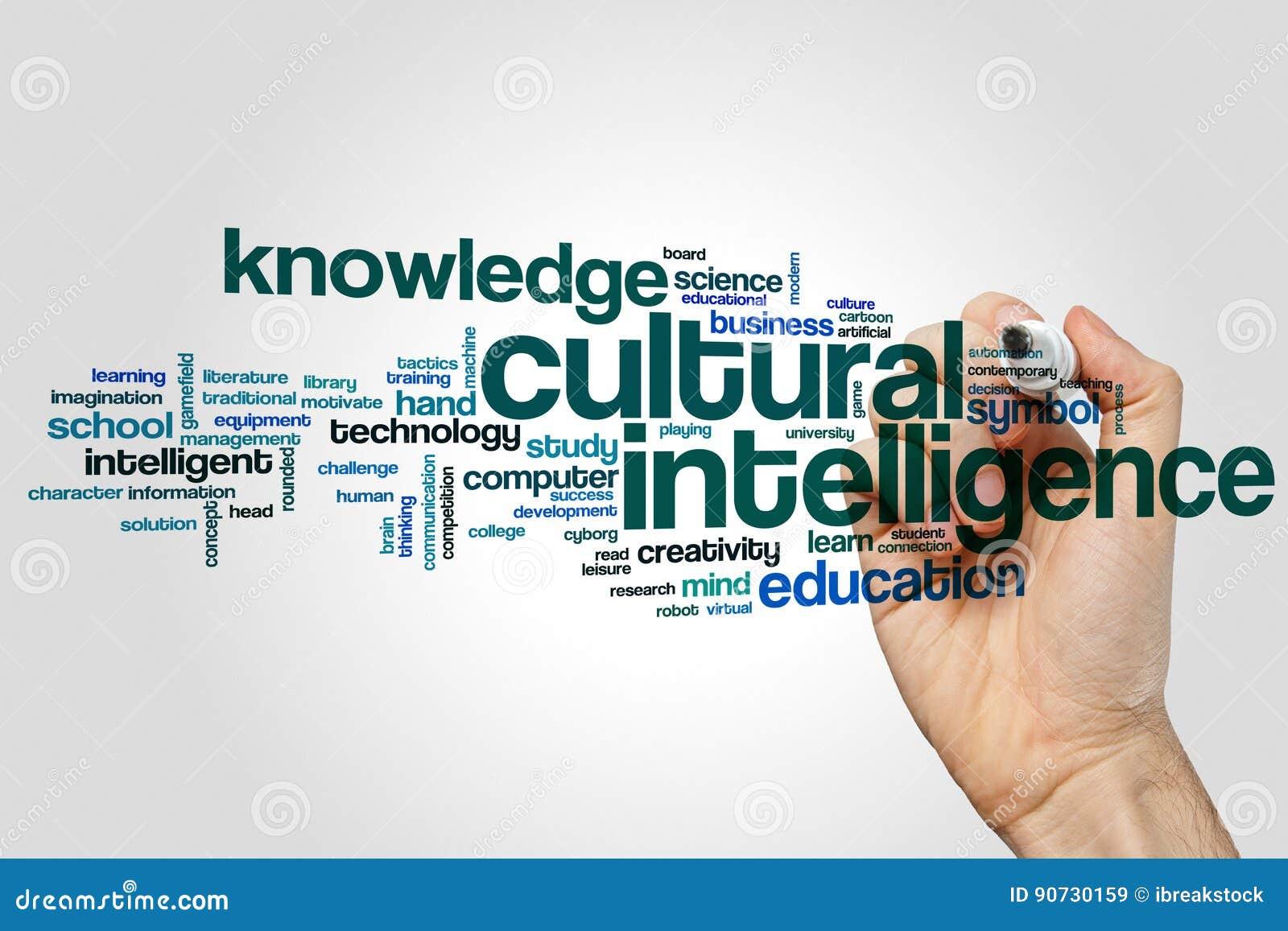 Concept culturel de nuage de mot d intelligence sur le fond gris