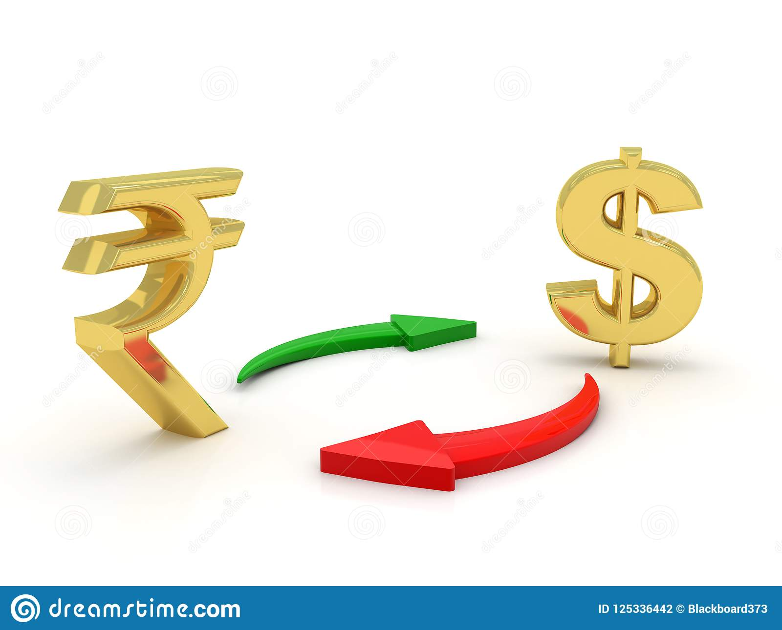 Concept Of Currency Converting With Indian Rupee And Dollar In White