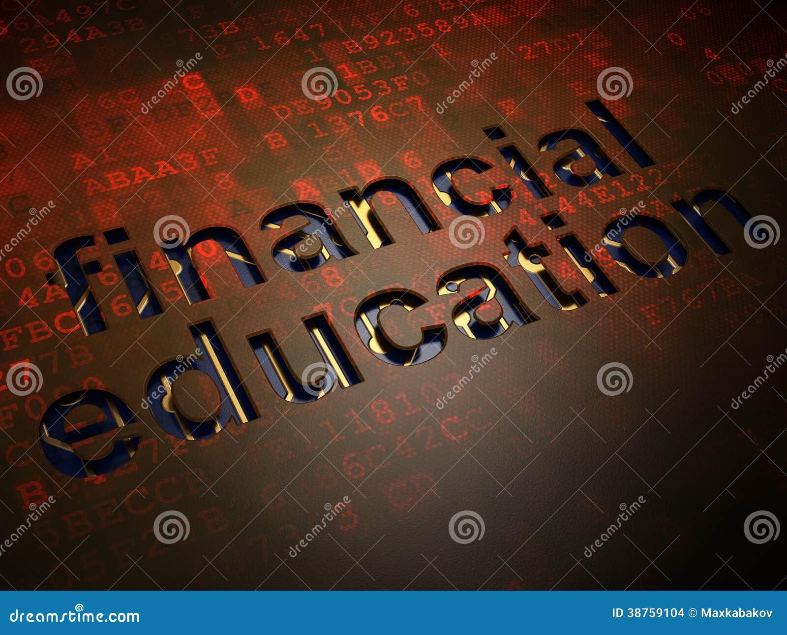 Concept d éducation : Éducation financière sur le fond d écran numérique