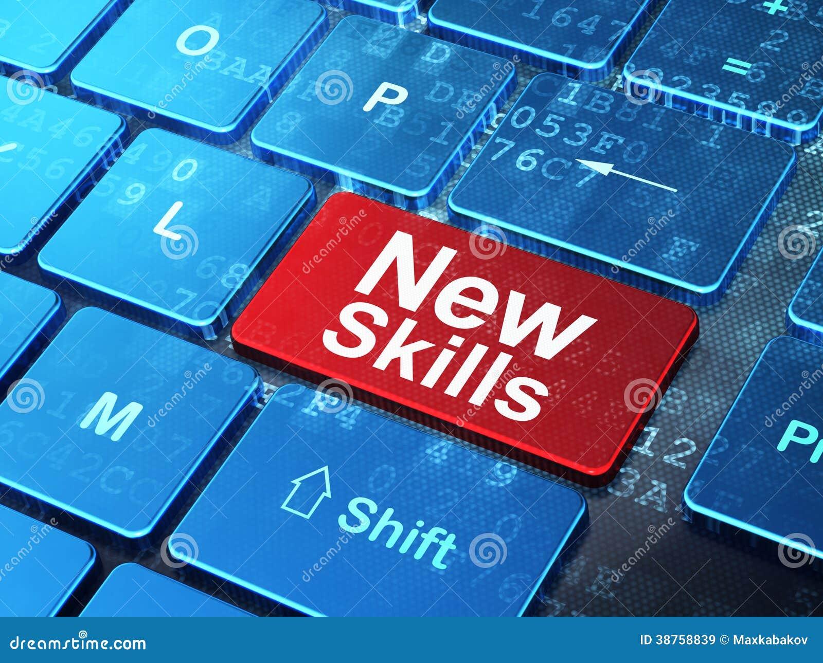 Concept d éducation : Nouvelles qualifications sur le fond de clavier d ordinateur
