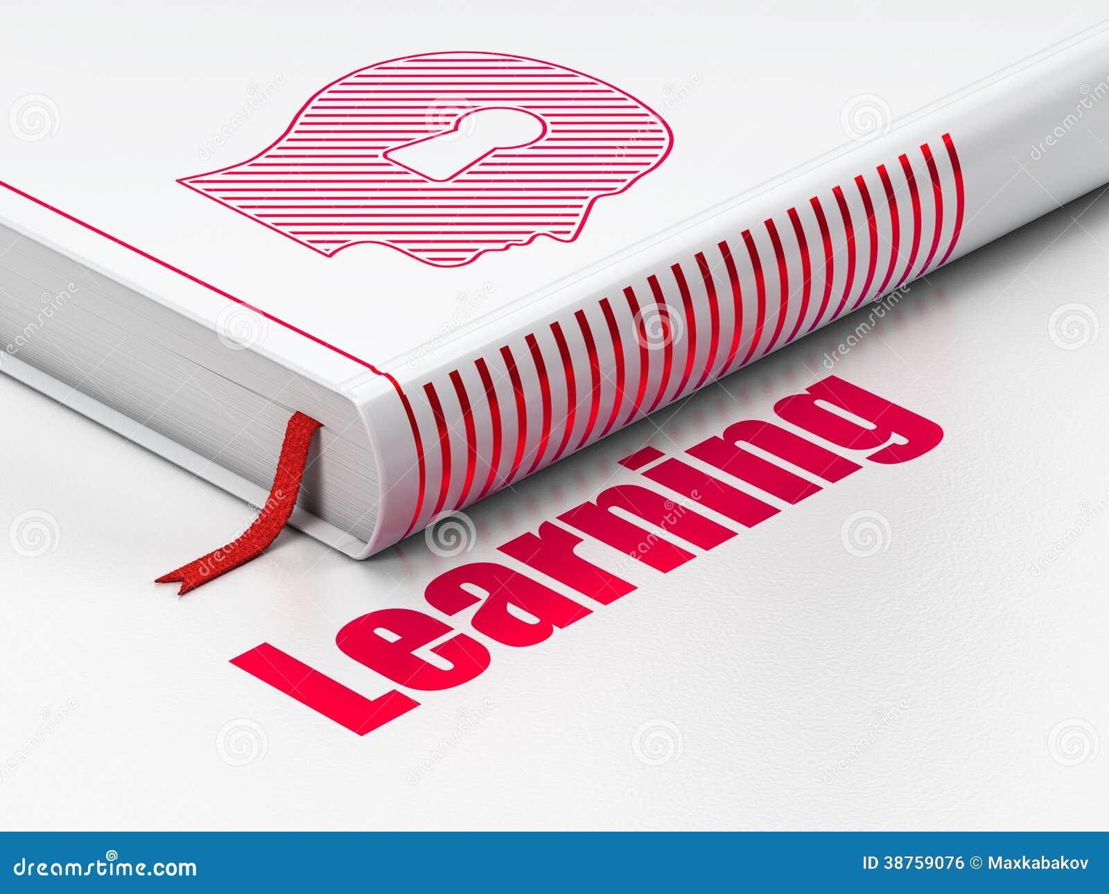 Concept d éducation : réservez la tête avec le trou de la serrure, apprenant sur le fond blanc
