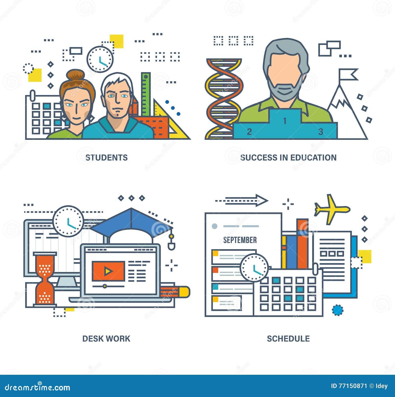 Concept d étudiant et de l étude, succès dans l éducation, travail de bureau