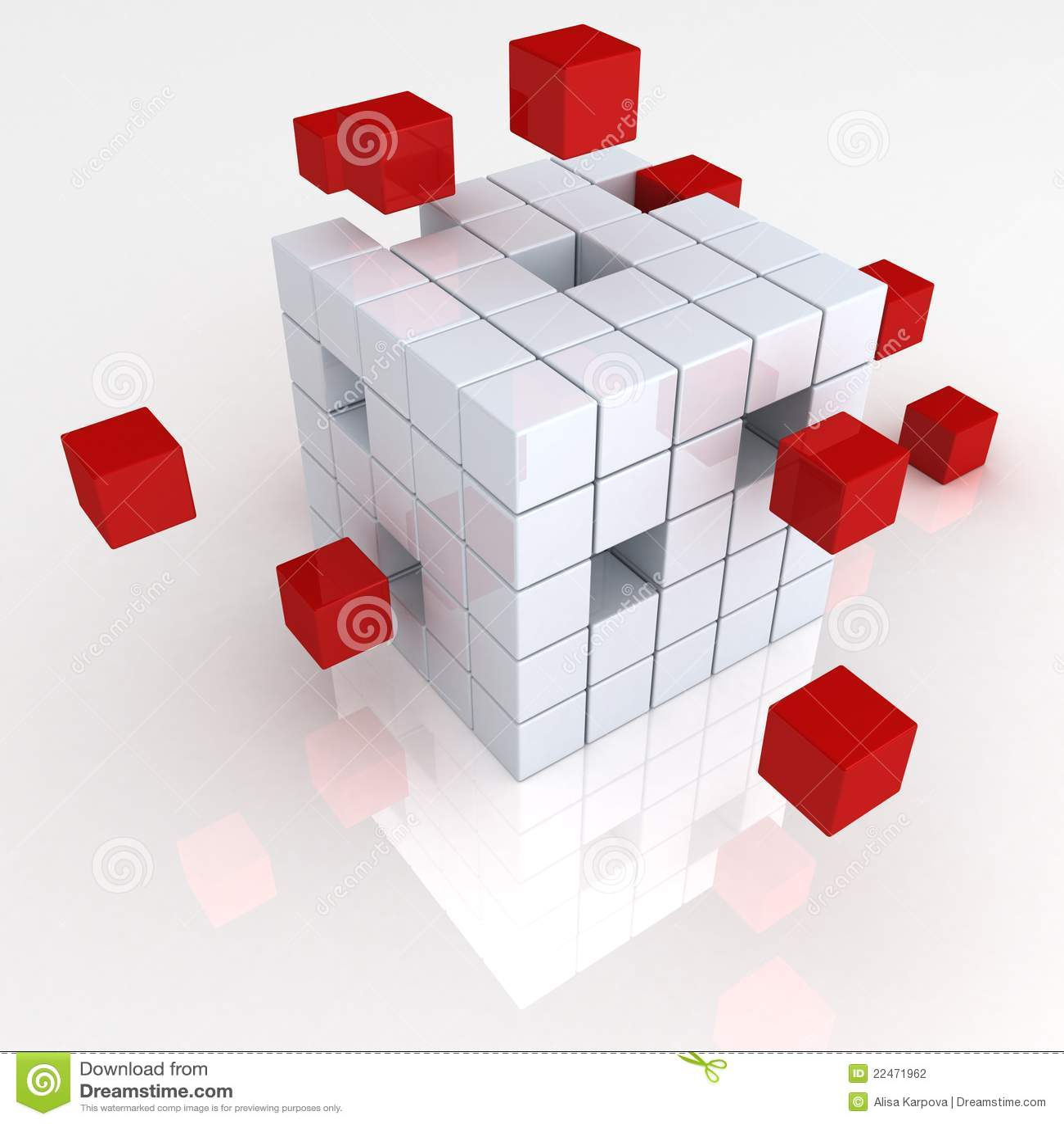 Concept d abrégé sur affaires de travail d équipe avec les cubes rouges