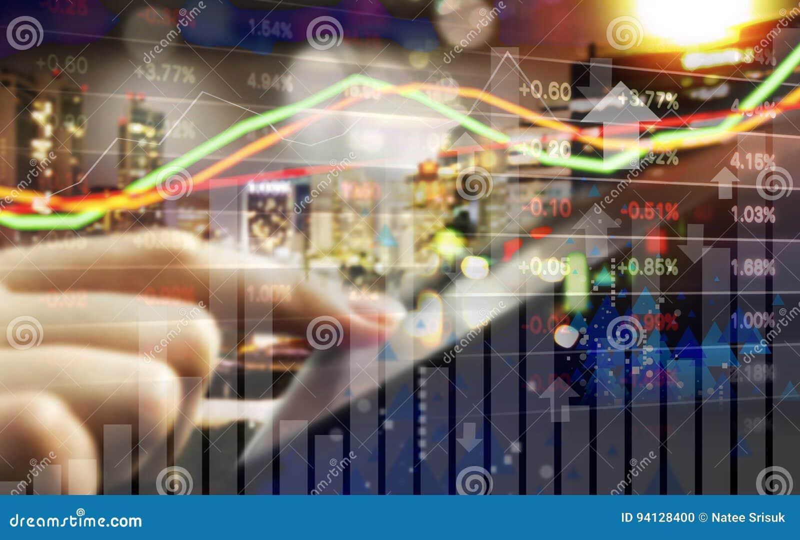Concept d affaires de marché boursier marchand de main de femme d affaires