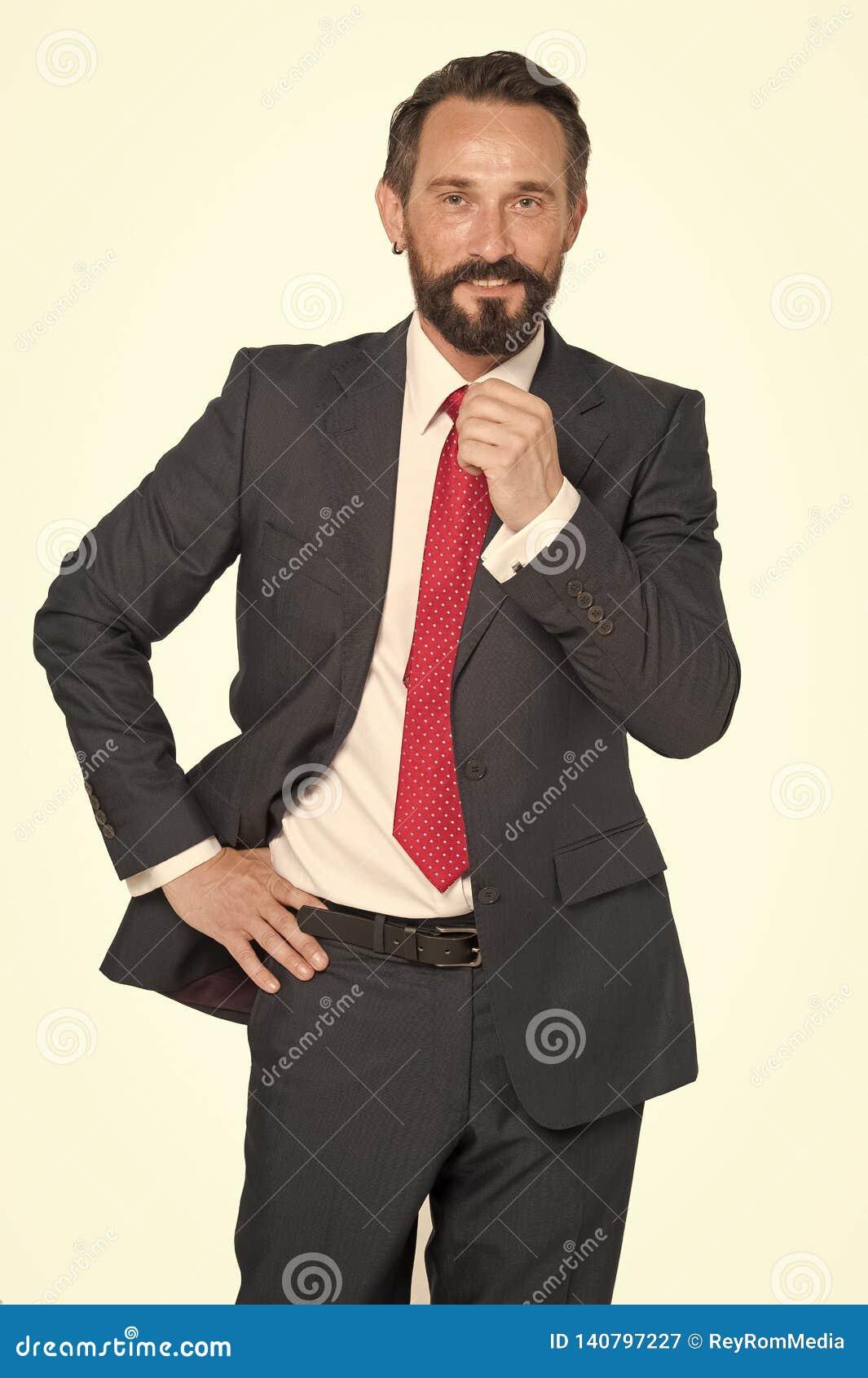 Concept d affaires, de personnes et de bureau - homme d affaires de sourire heureux dans le costume Homme d affaires barbu dans l
