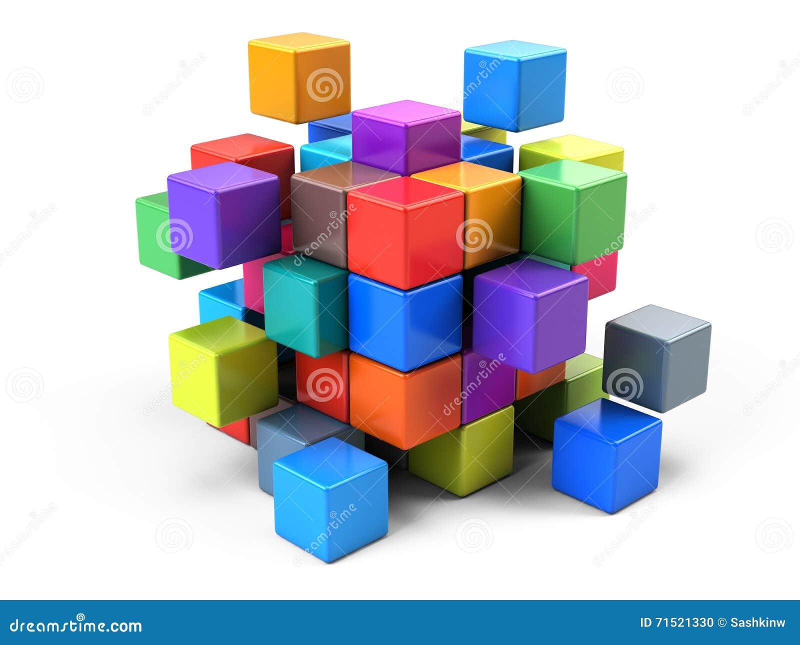 Concept d affaires de travail d équipe - cubez se réunir à partir des blocs