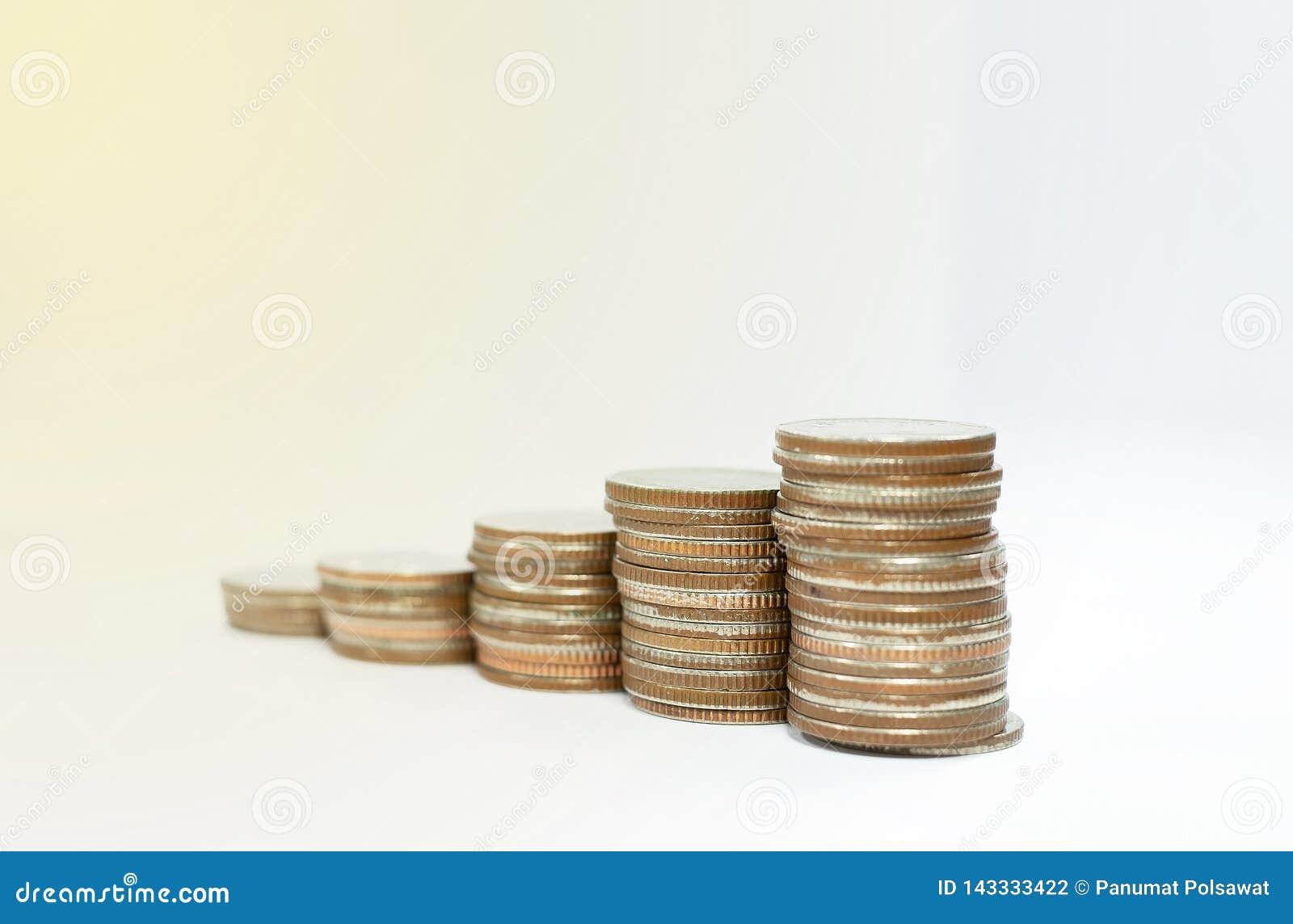 Concept d affaires des piles de pi?ces de monnaie