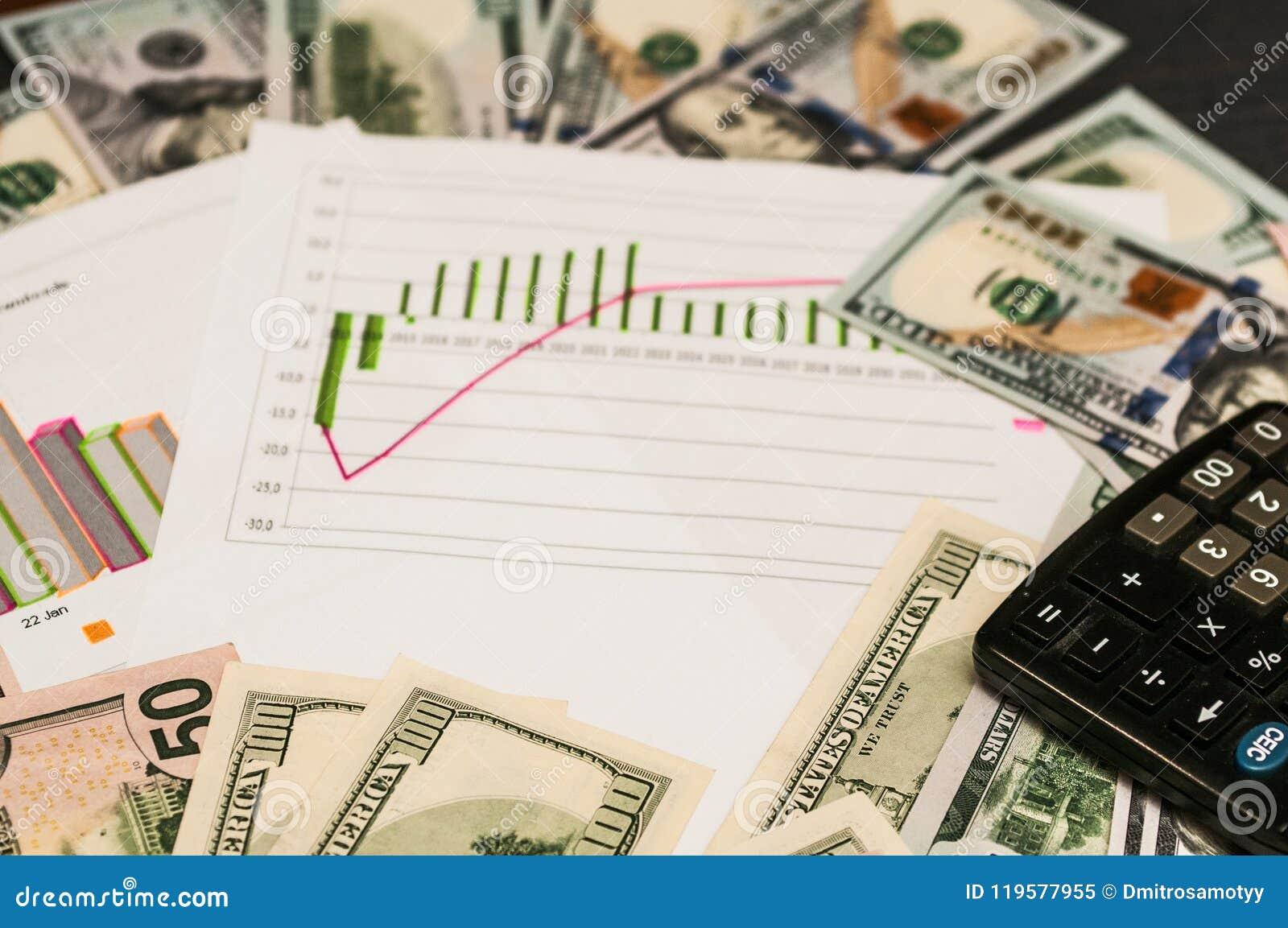 Concept d affaires - finances de calculatrice des dollars de dessin graphique