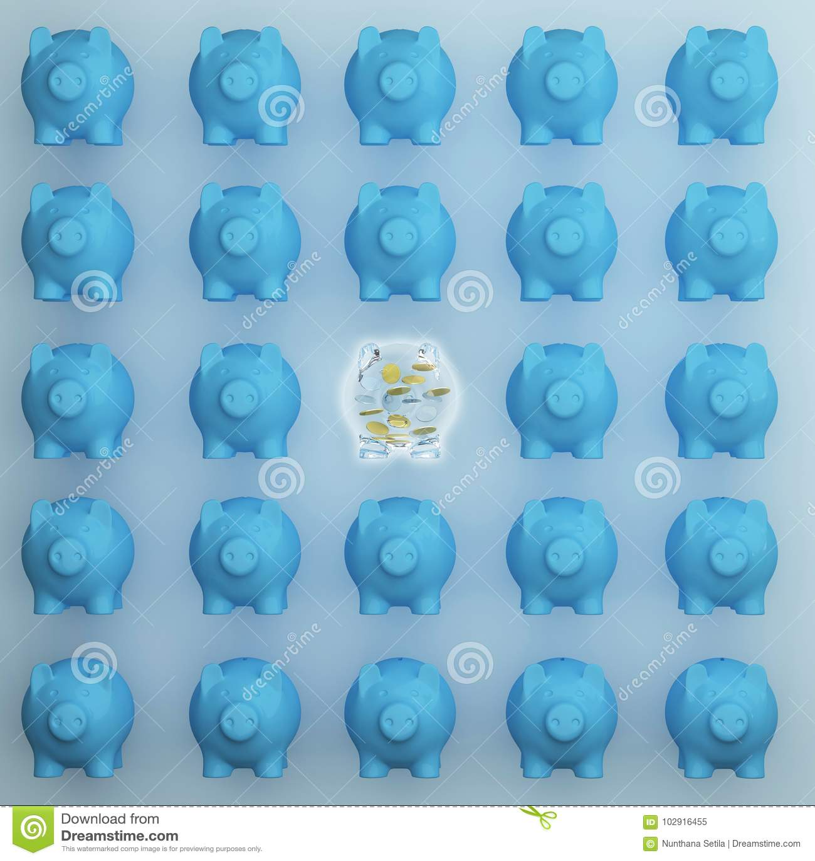 Concept d affaires : Porcs différents de l économie en verre l exceptionnelle de porc l autre sur le fond bleu idée minimale de c