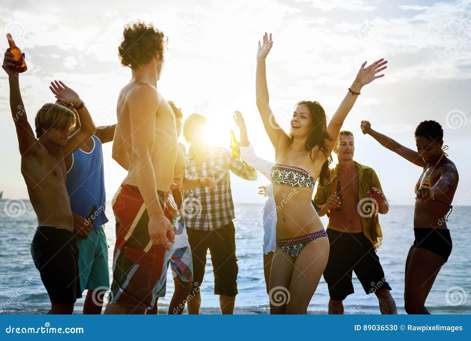 Concept d amitié de foule de vacances d unité de plage
