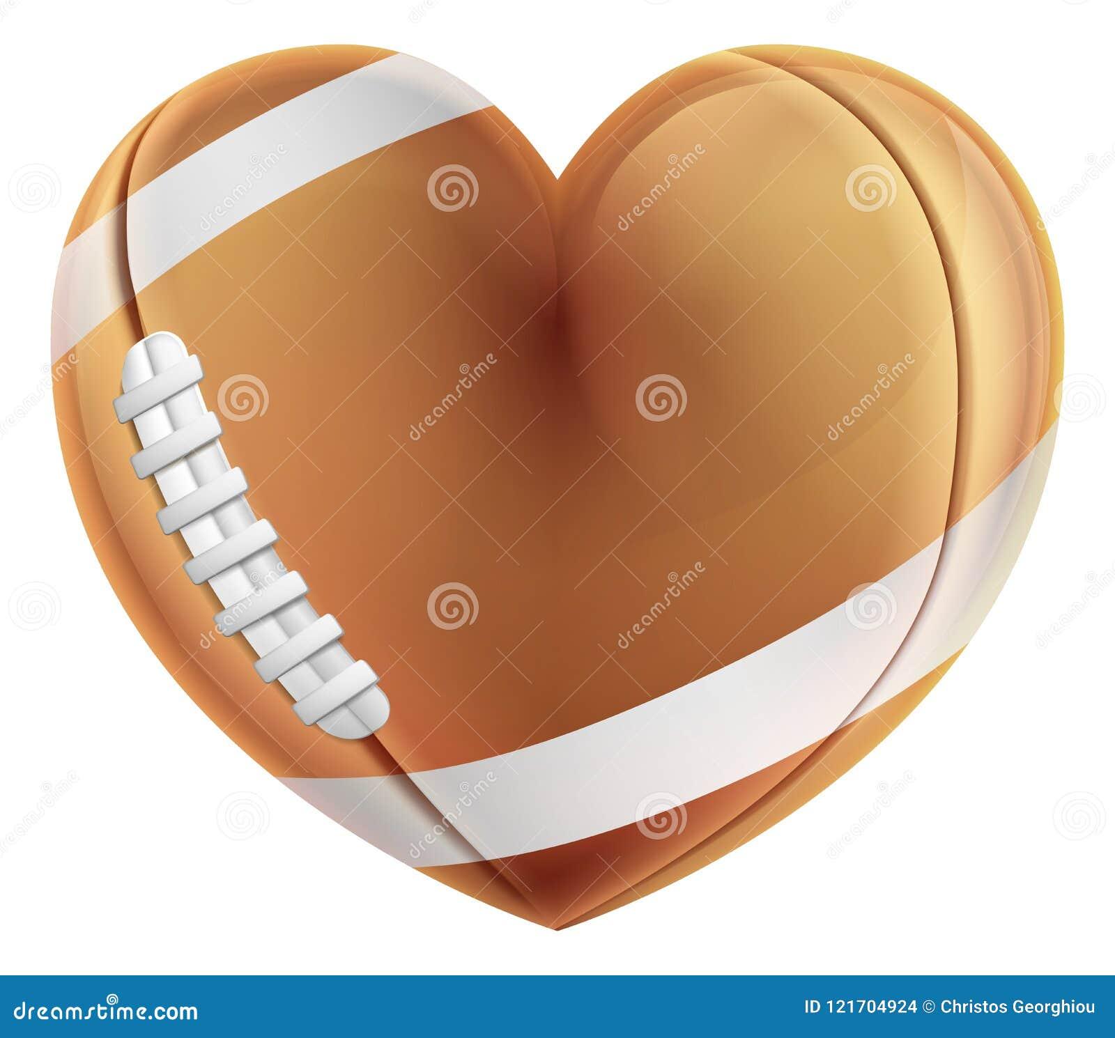 Concept d amour de boule de football américain de forme de coeur