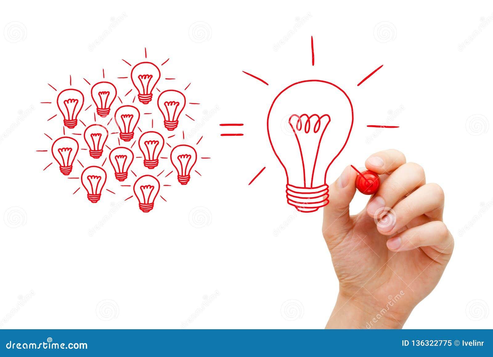 Concept d ampoules de Team Working On Idea Light