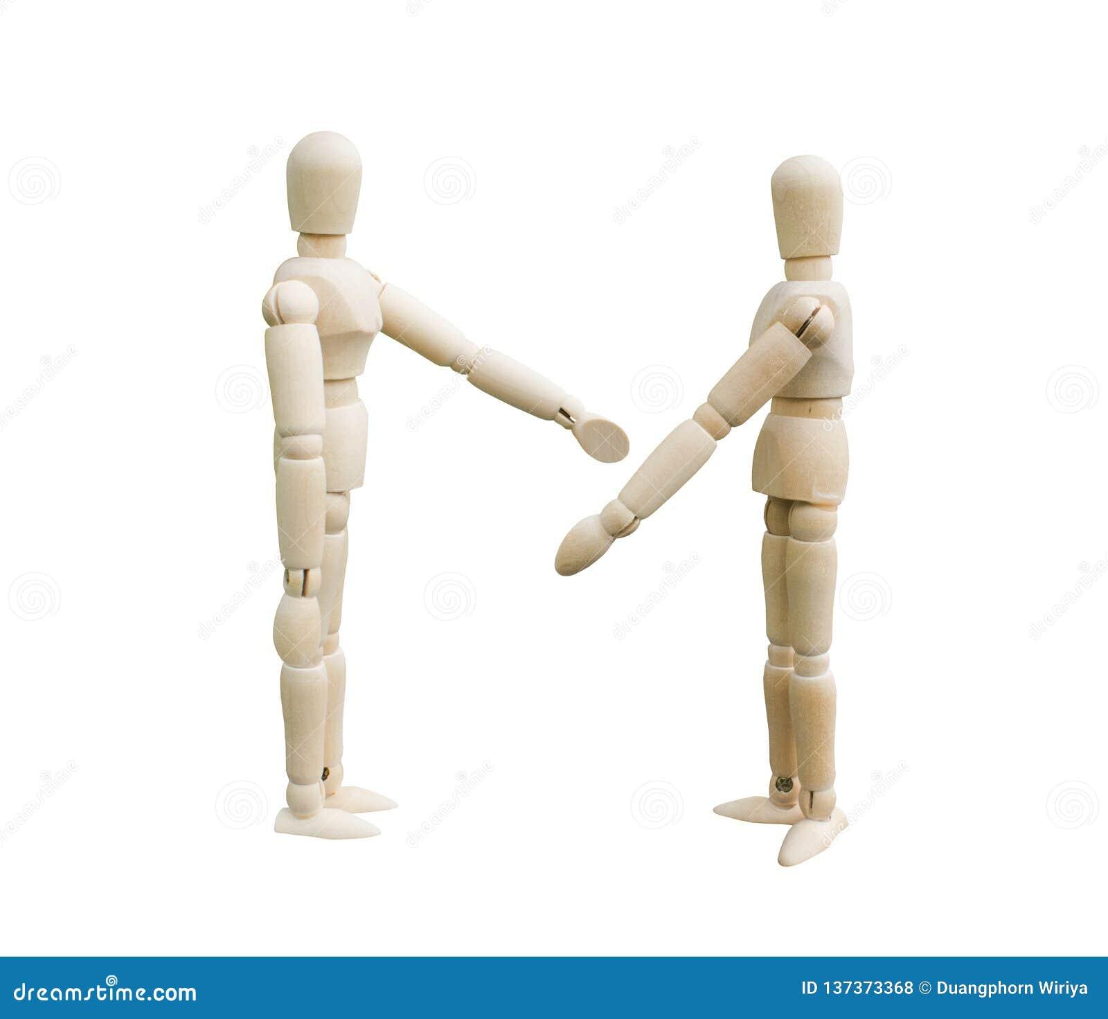 Concept d argument Deux marionnettes en bois discutent quelque chose sur le fond blanc