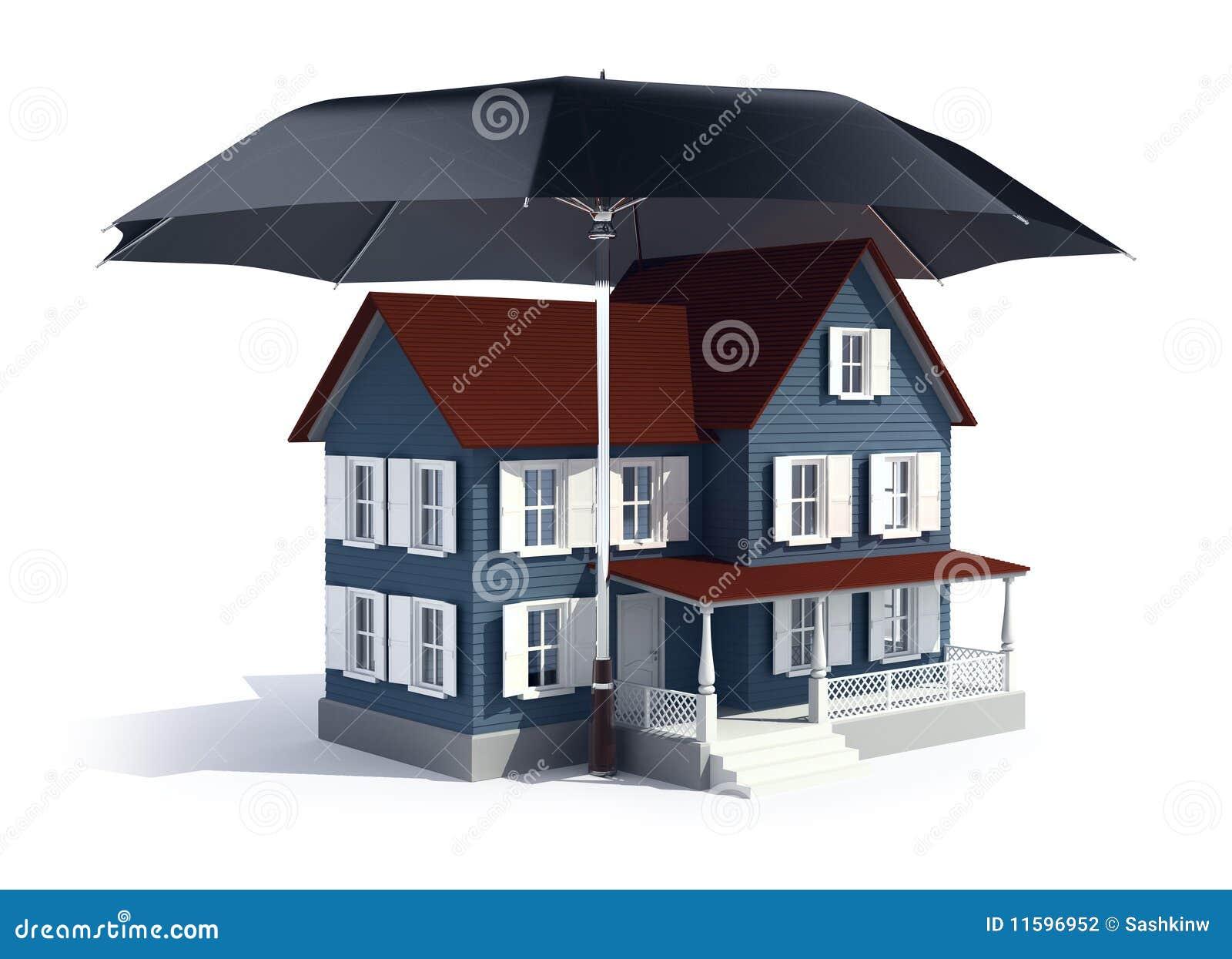 Concept d 39 assurance maison sous le parapluie for Assurance habitation maison centenaire